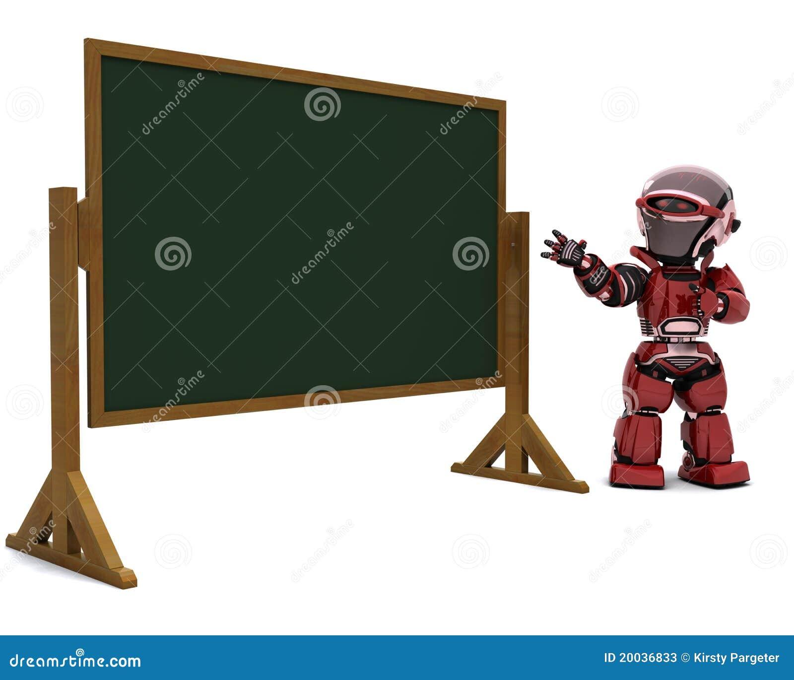 Modern Classroom Board ~ Robot teacher in classroom stock illustration image of