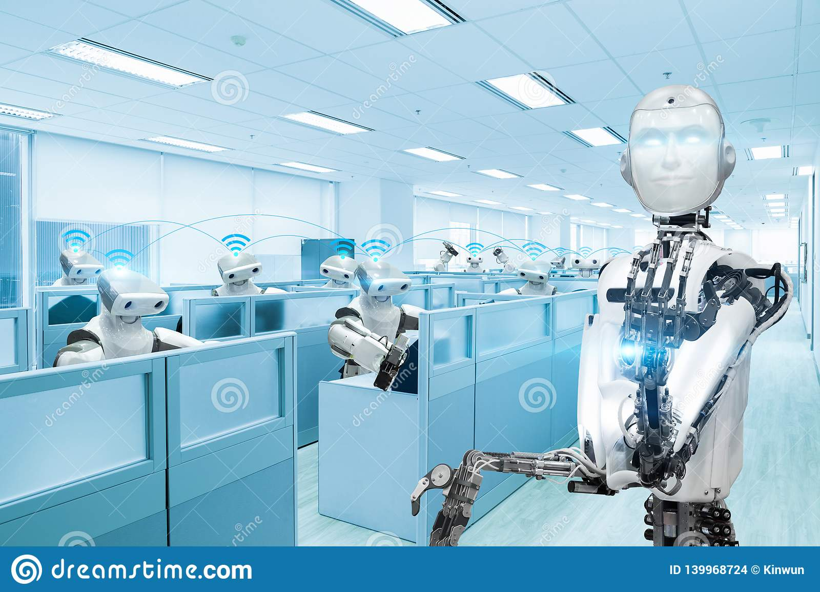 Robot team working in the office, Future technology concept