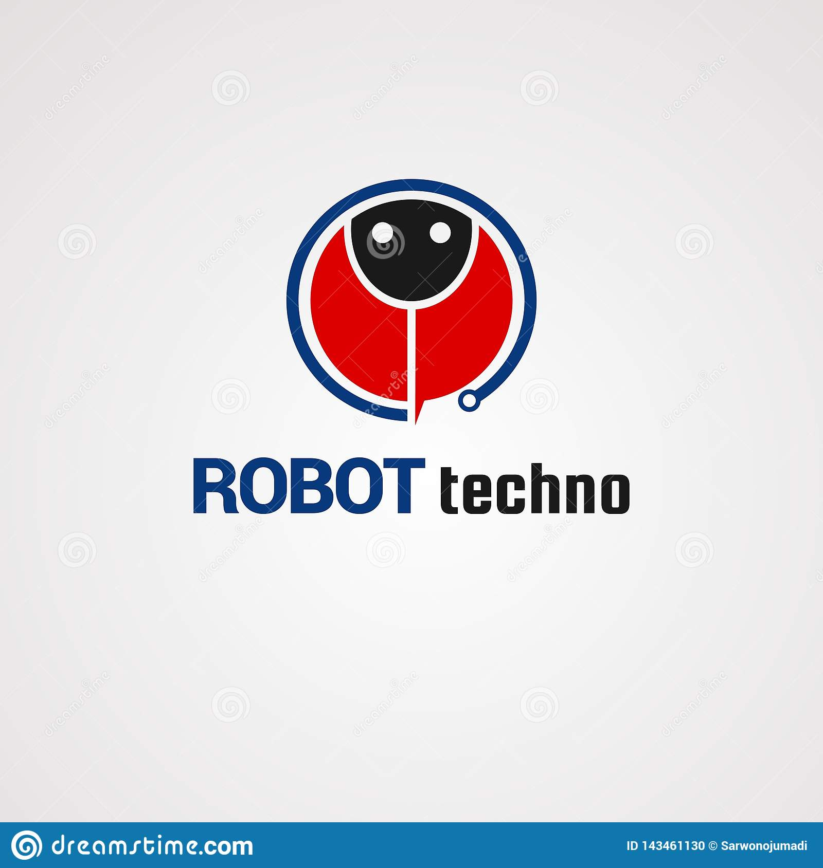 Robot techno logo vector, icon, element, and template for company