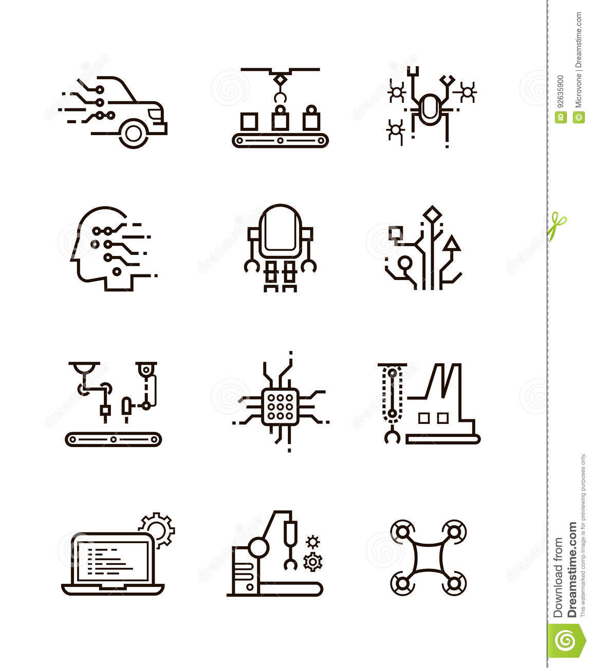 robot technology and robotic machinery line vector icons