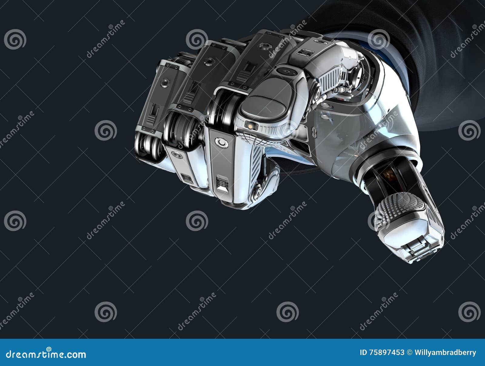 Robot tenant le bitcoin avec des doigts dans le bras mécanique