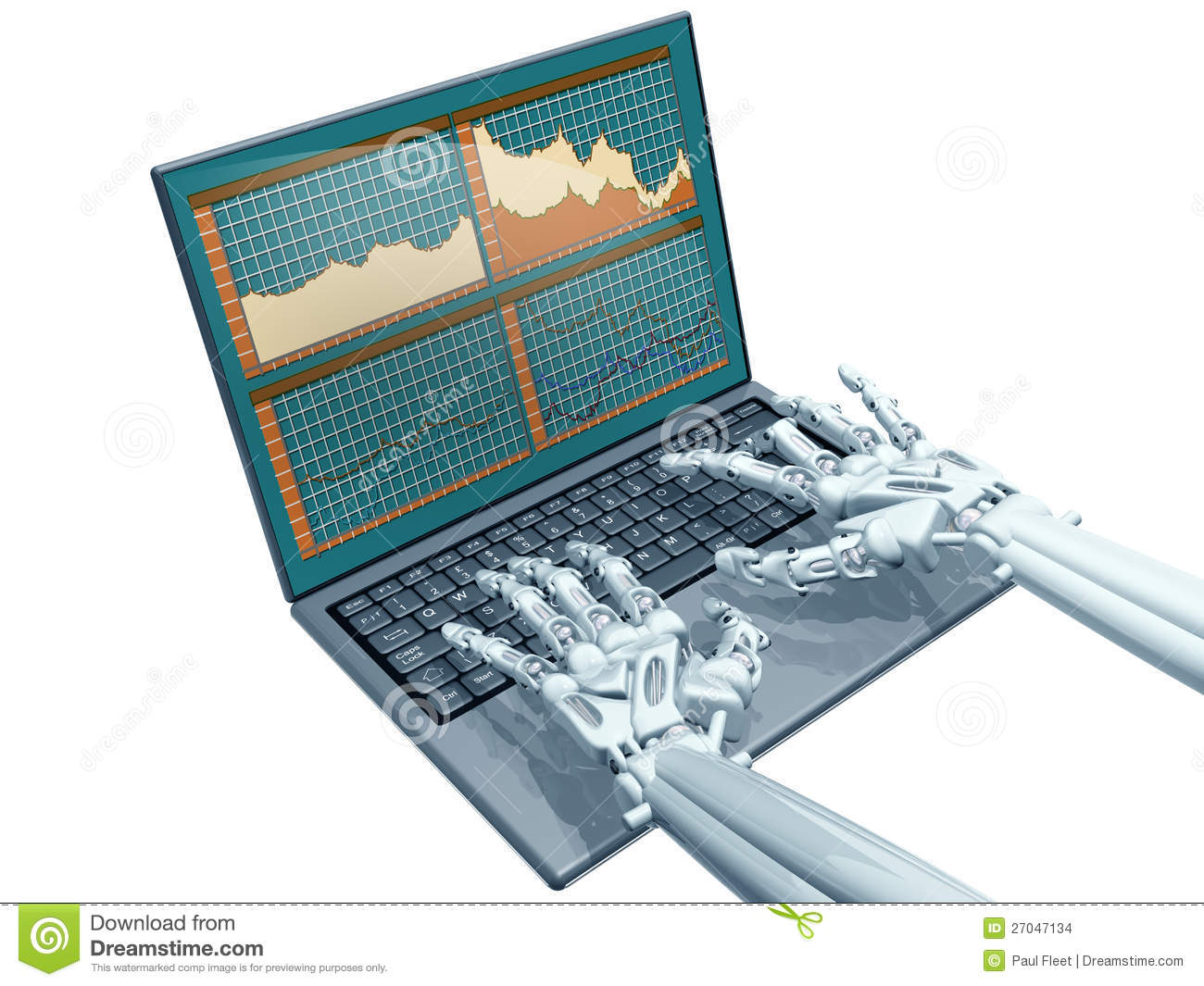 Robot trading stock illustration  Illustration of automated