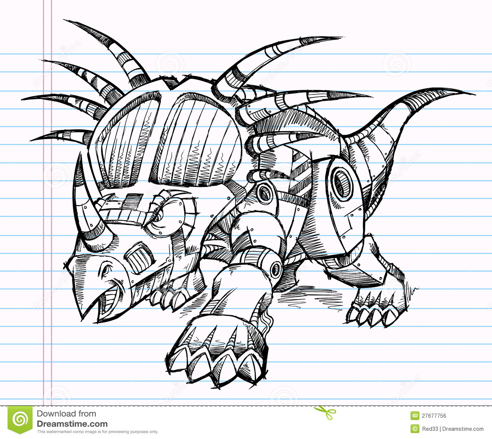 Robot Triceratops Dinosaur Sketch Royalty Free Stock Image