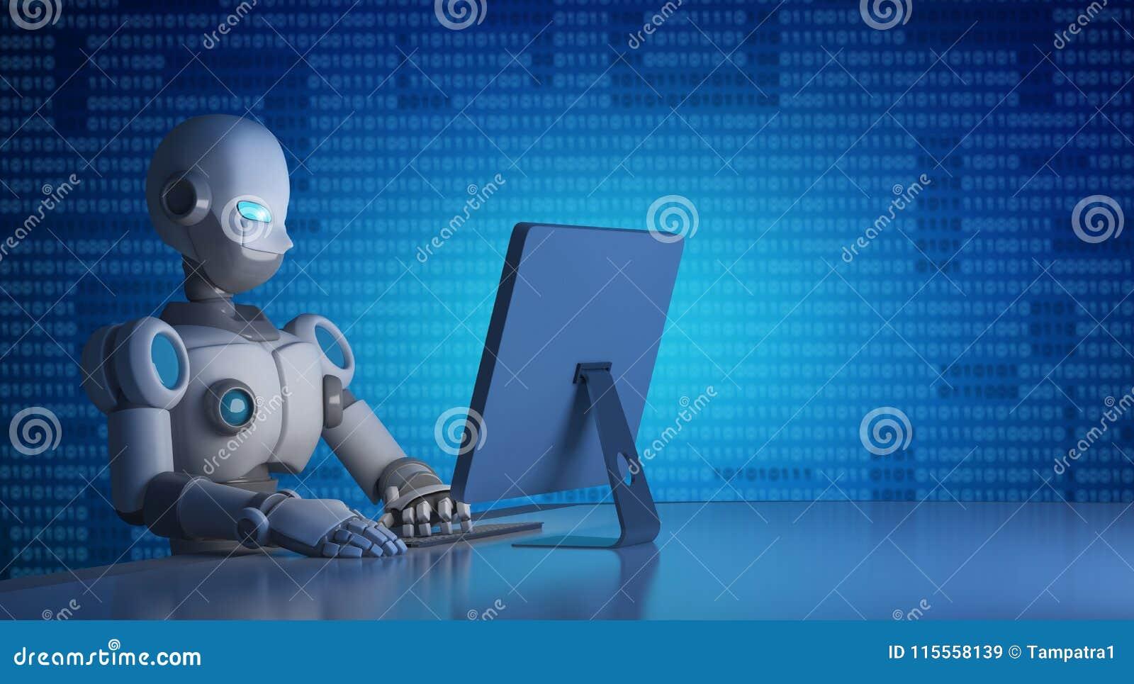Robot używać komputer z binarnym kodem, sztuczna inteligencja