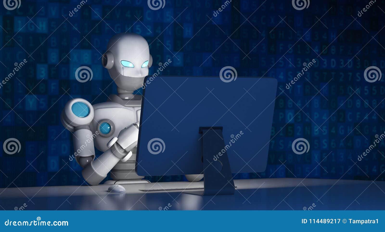 Robot używać komputer z dane kodem, sztuczna inteligencja