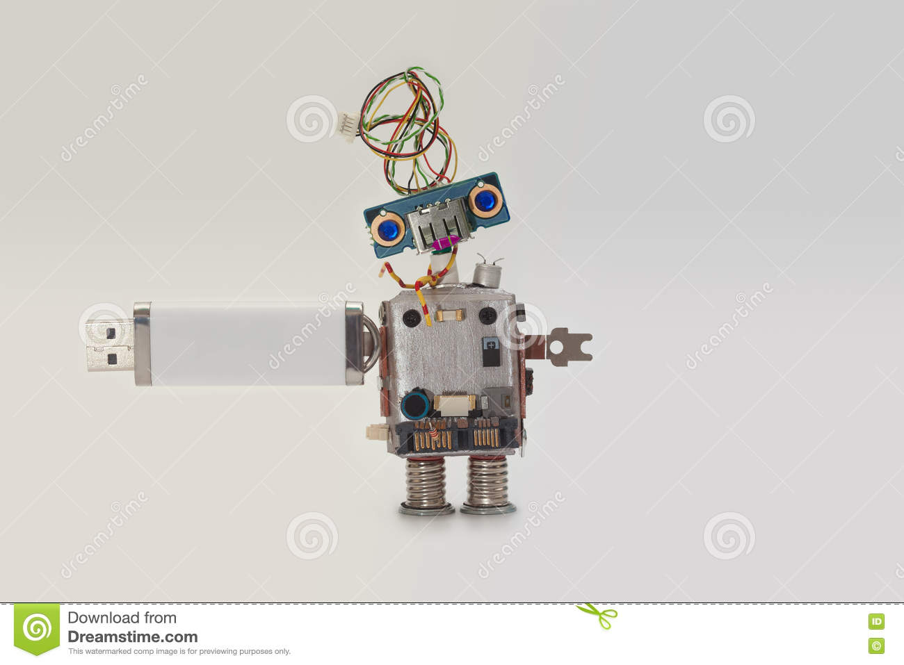 Robot With Usb Flash Storage Stick. Data Storing Concept, Abstract ...