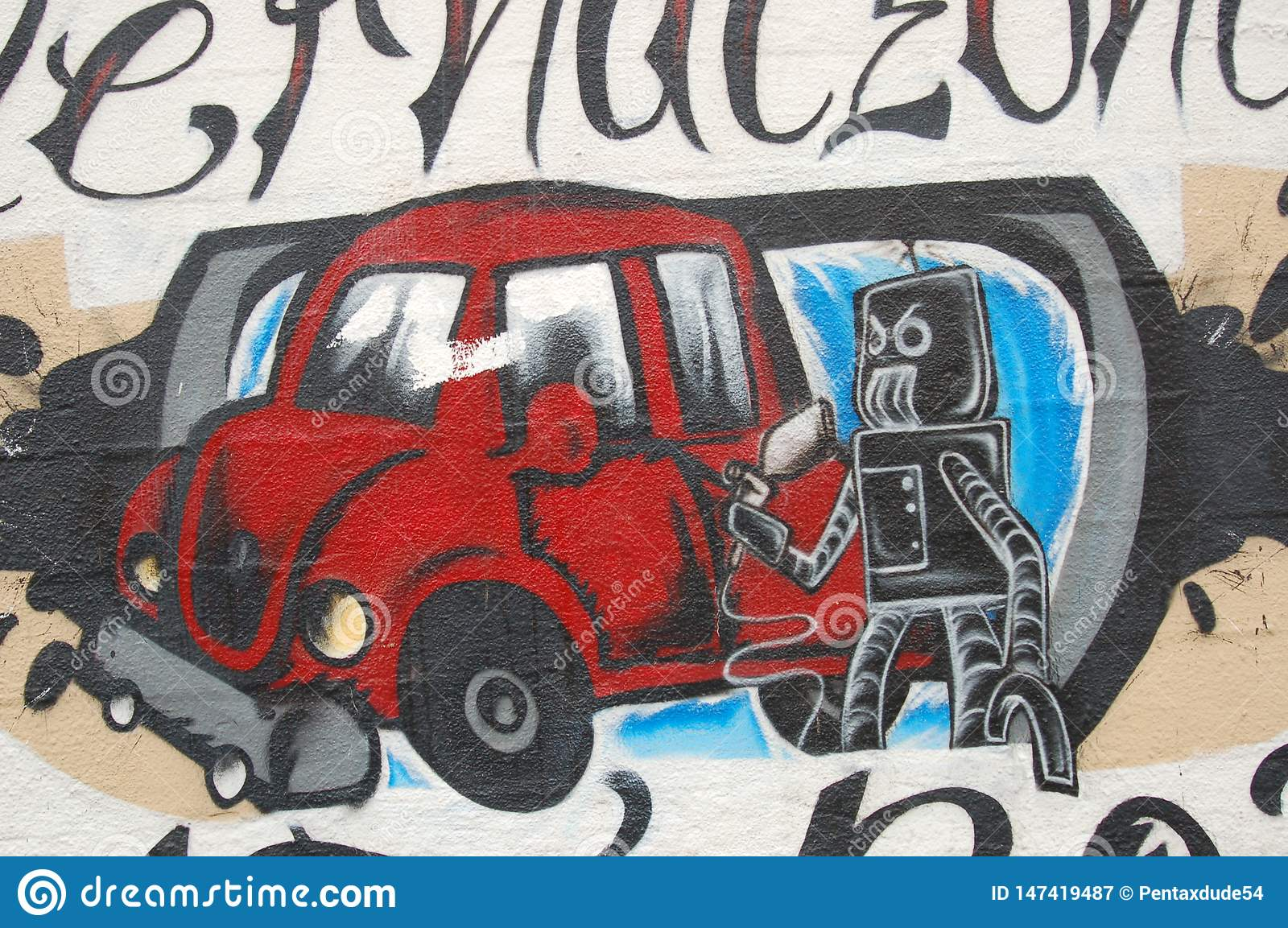 Robot and car mural in Portland, Oregon