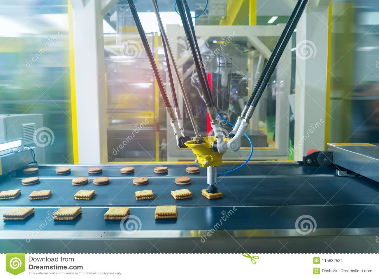 robot with vacuum suckers with conveyor in Production of cookies