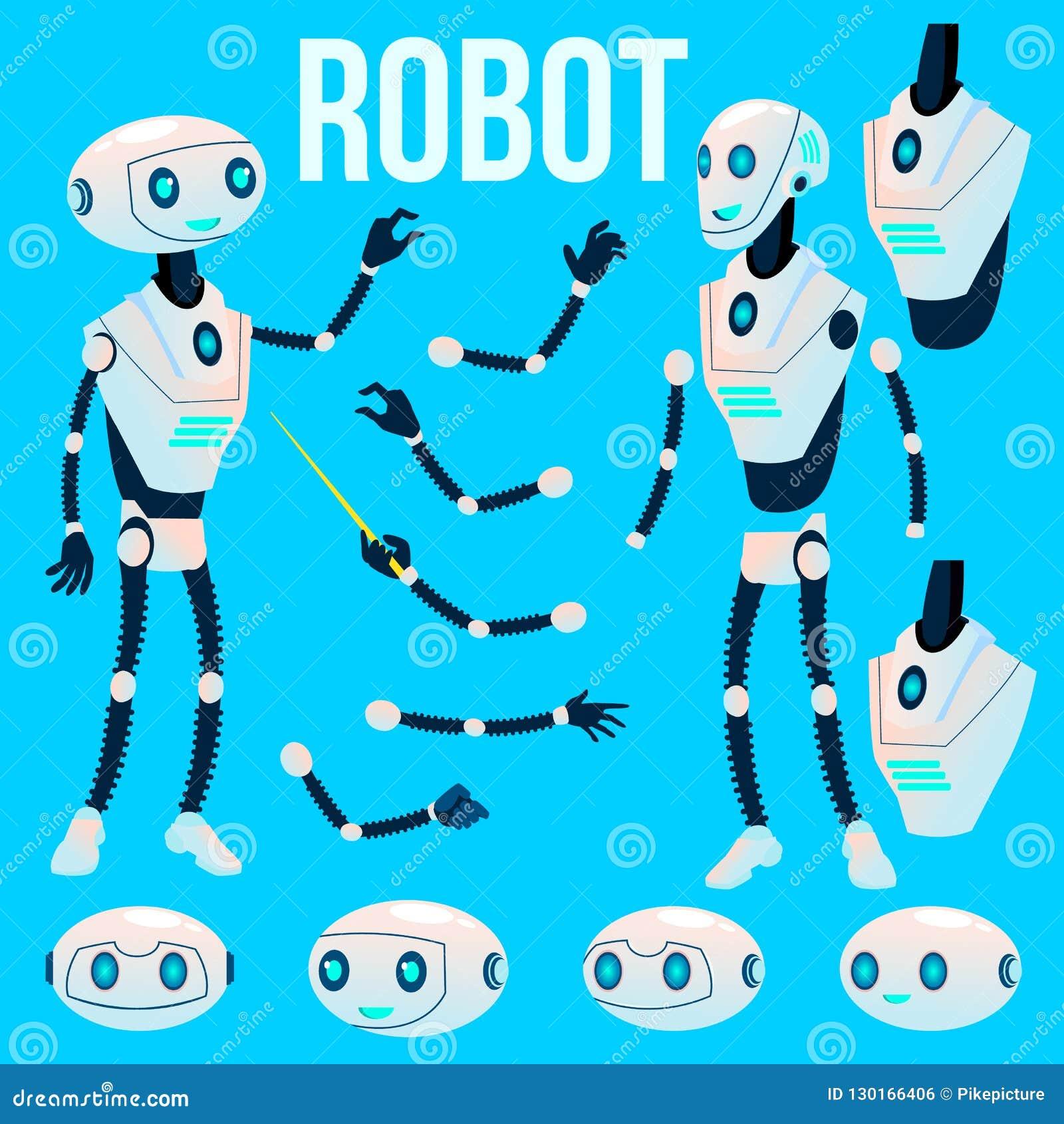 Robot Vector. Animation Creation Set. Futuristic Mechanism ...