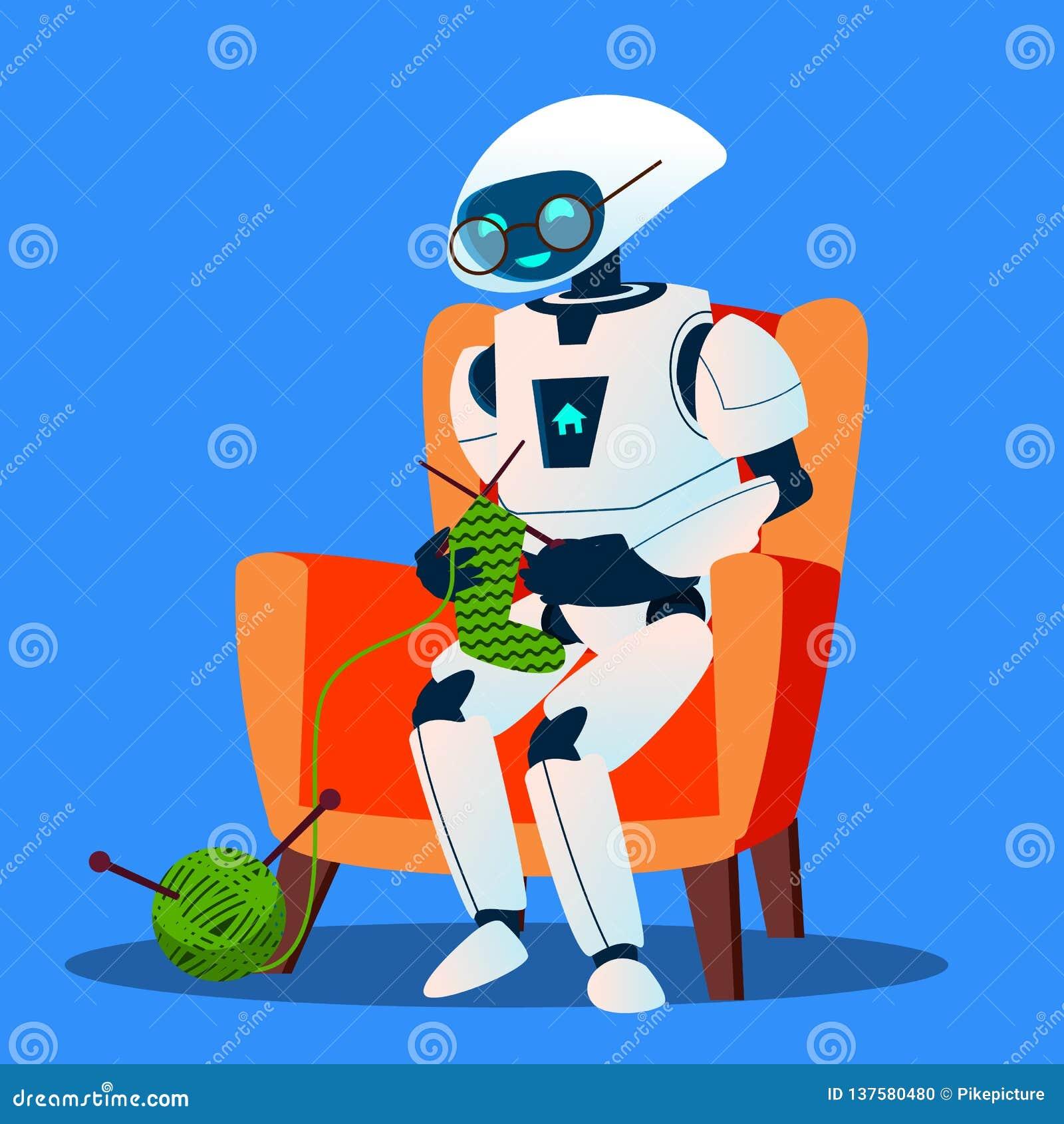 Robot viejo con los vidrios que hacen punto un vector del calcetín Ilustración aislada