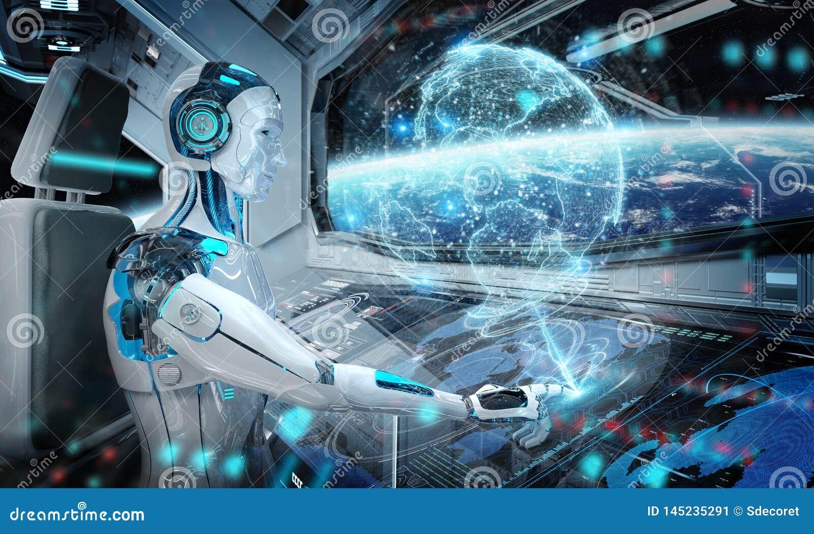 Robot w kontrolnym pokoju lata bia?ego nowo?ytnego statek kosmicznego z nadokiennym widokiem na astronautycznym i cyfrowym Ziemsk
