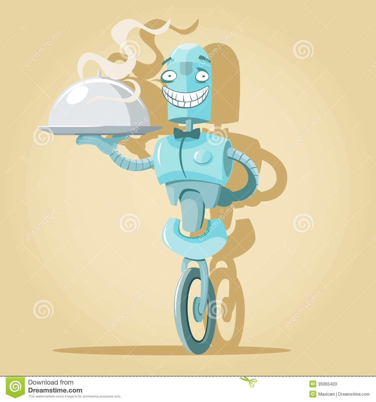 Vector illustration of funny cute Robot waiter holding tray with dish.