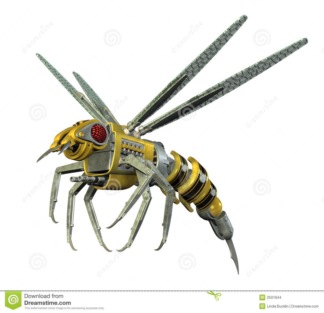 3D render depicting a robot wasp, isolated on white.