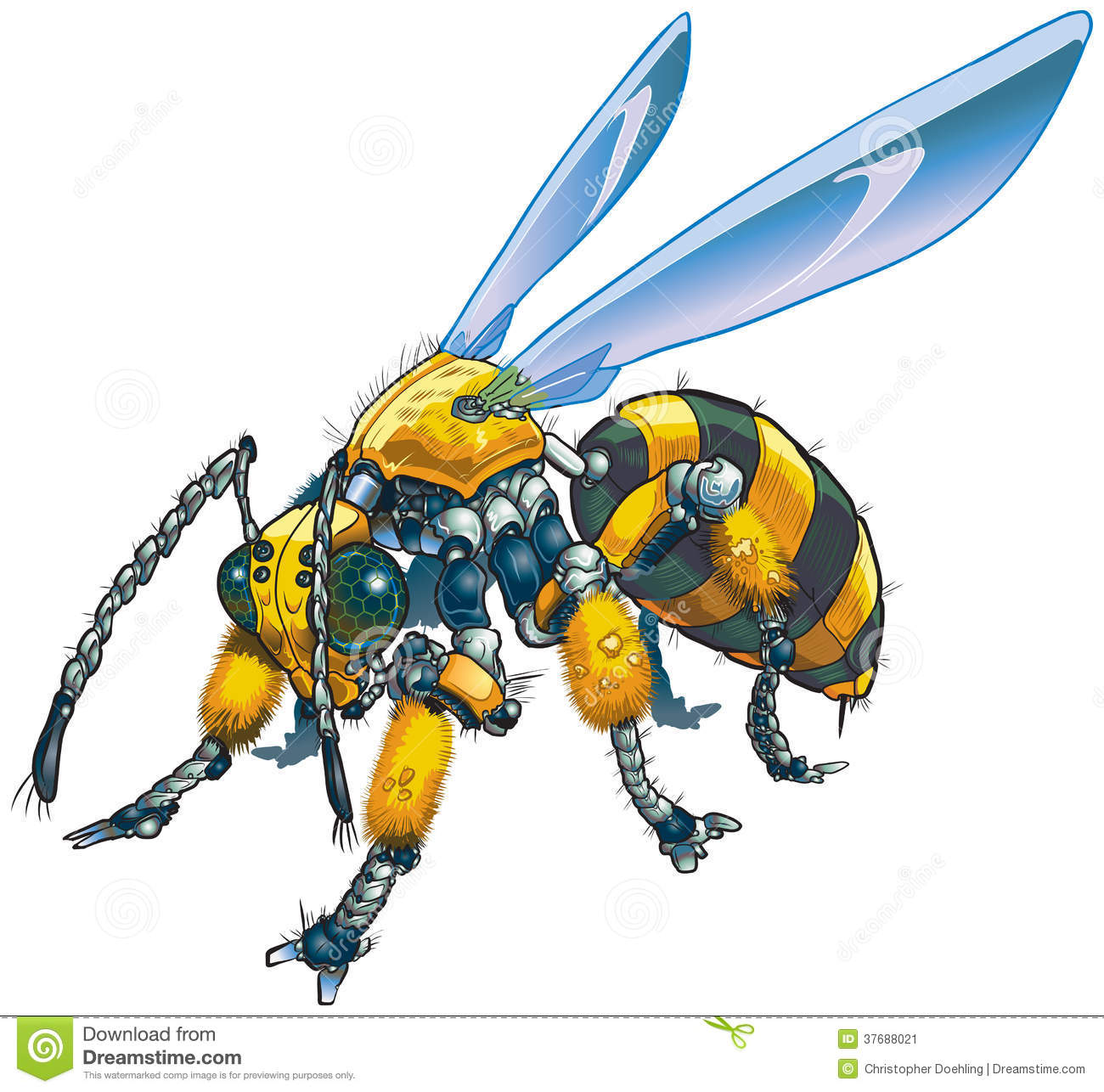 Vector cartoon clip art illustration of a robot wasp or bee. Could ...