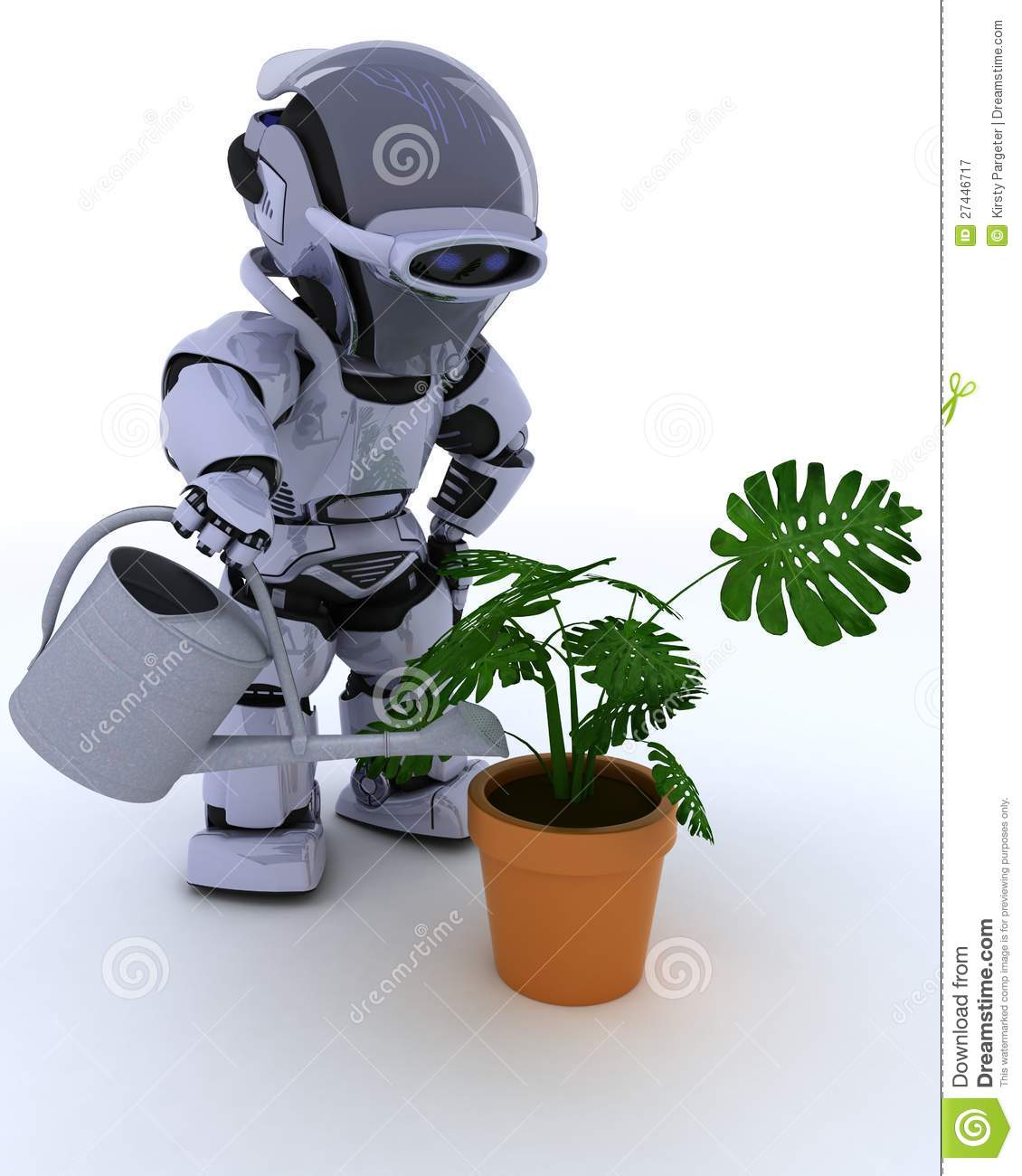 Robot watering tree outdoor vector illustration When is the best time to water your garden