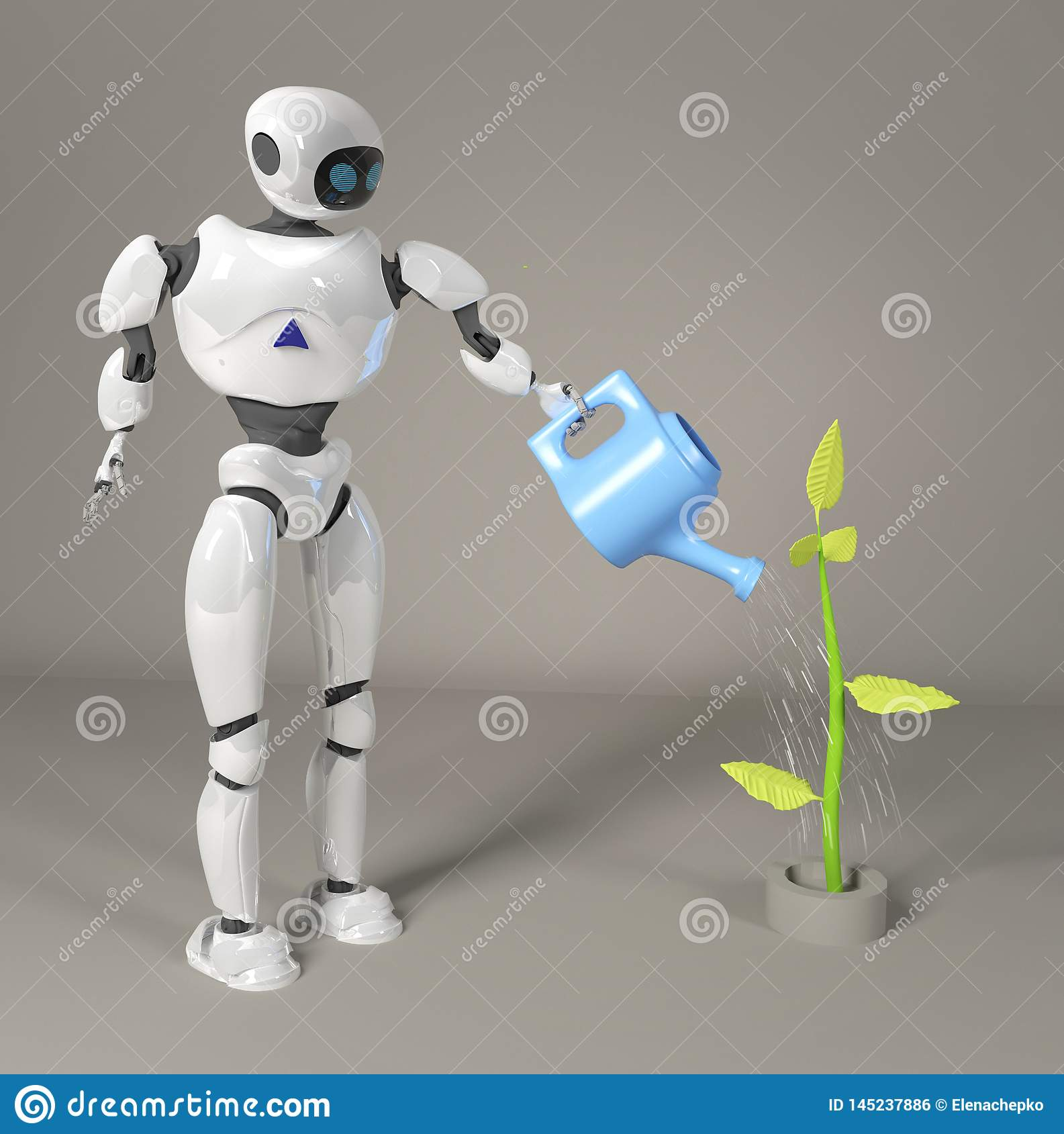 robot is watering the sprout 3d, render