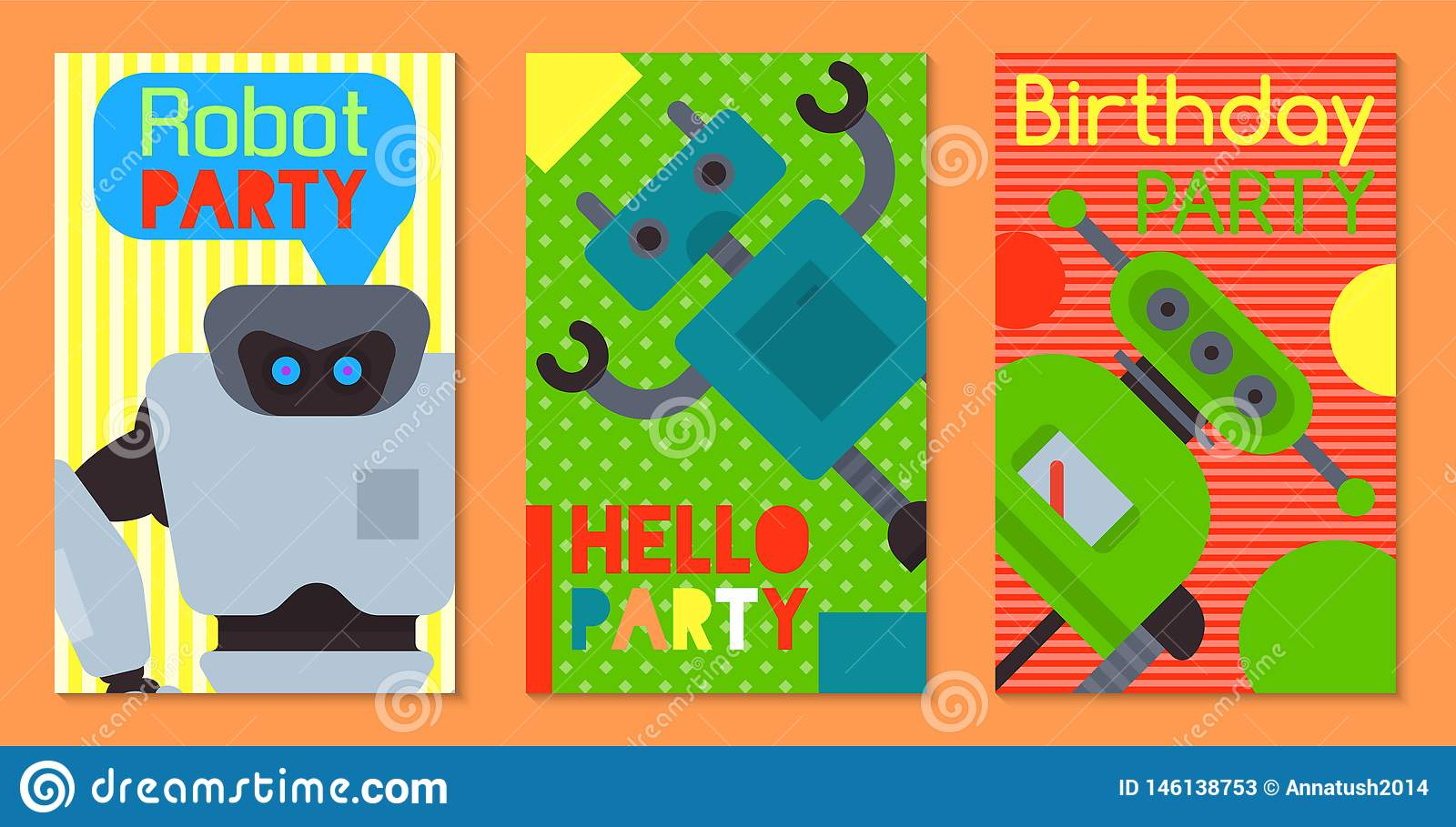 Robot waving, robotic dog friend design for kid party set of banners, cards vector illustration. Birthday party welcome