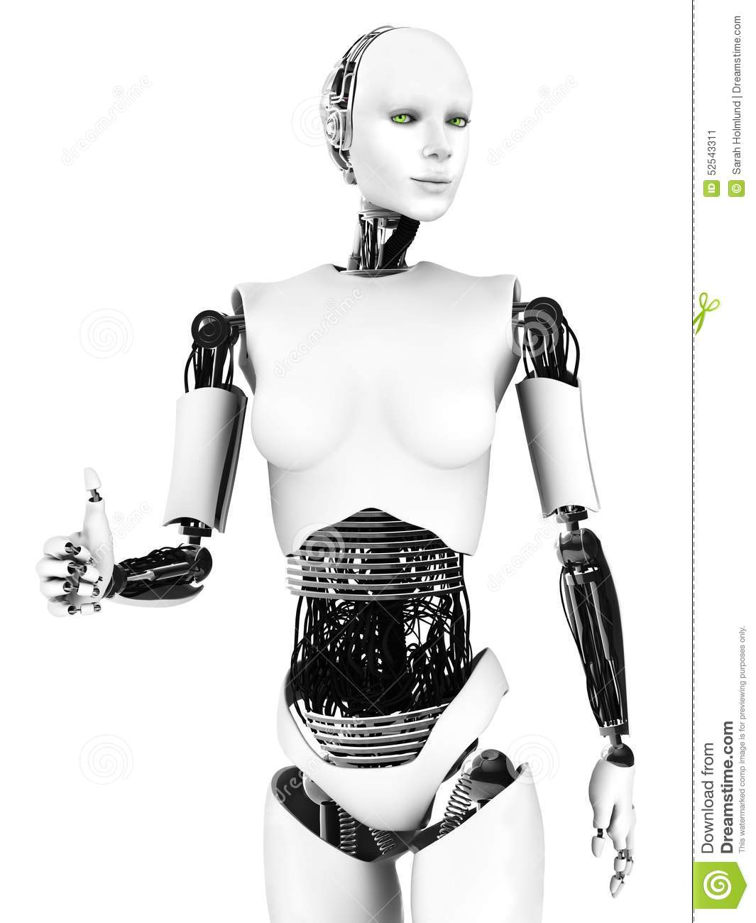Robot Woman Doing A Thumbs Up. Stock Illustration - Image ...