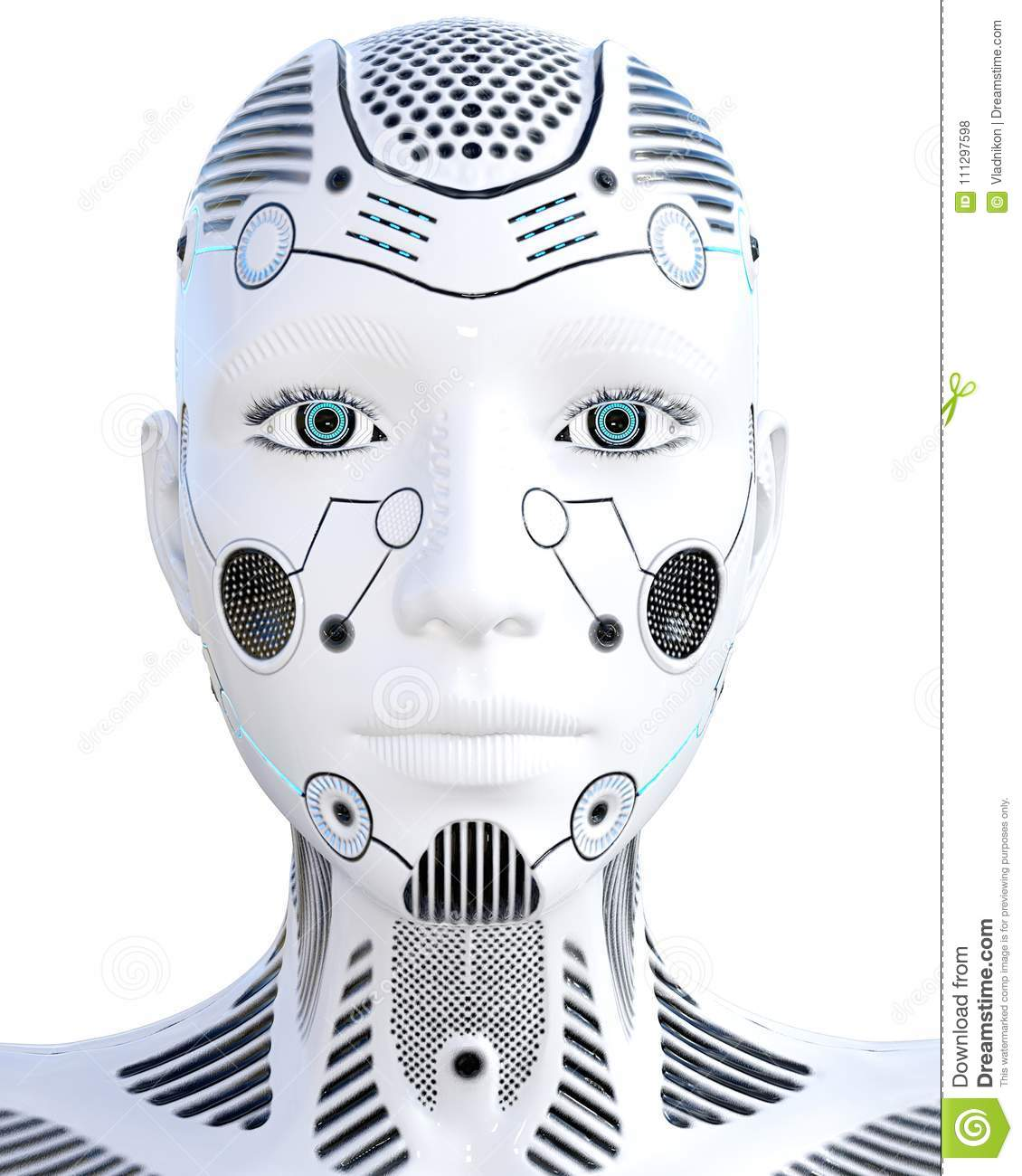 Robot Woman  White Metal Droid  Artificial Intelligence  Stock