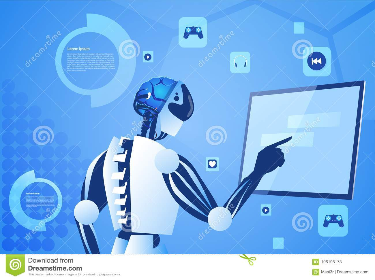 Robot Working Digital Screen Or Monitor Modern Technology And Artificial Intelligence Concept