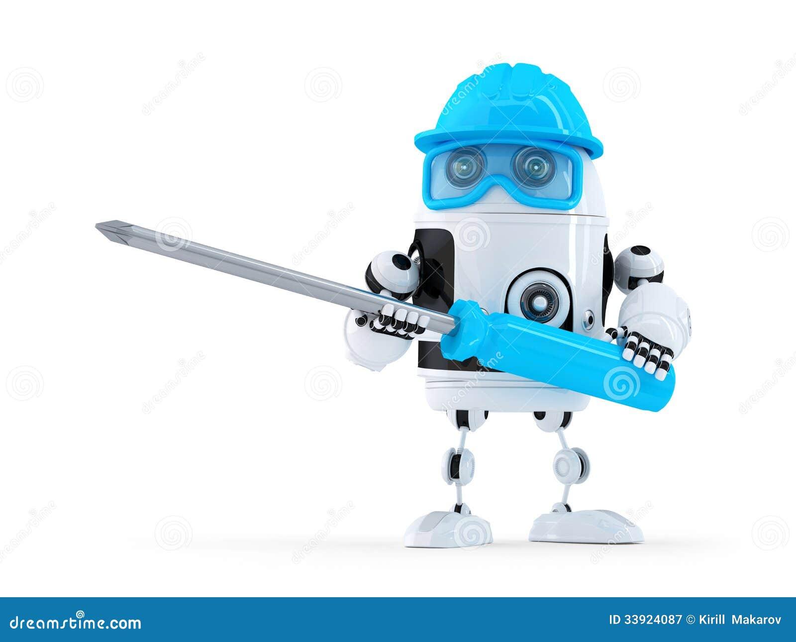 Robot z śrubokrętem.