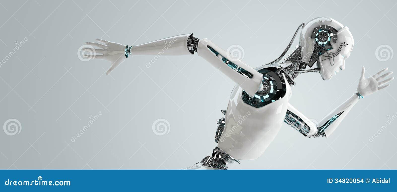 Robota androidu mężczyzna biegać