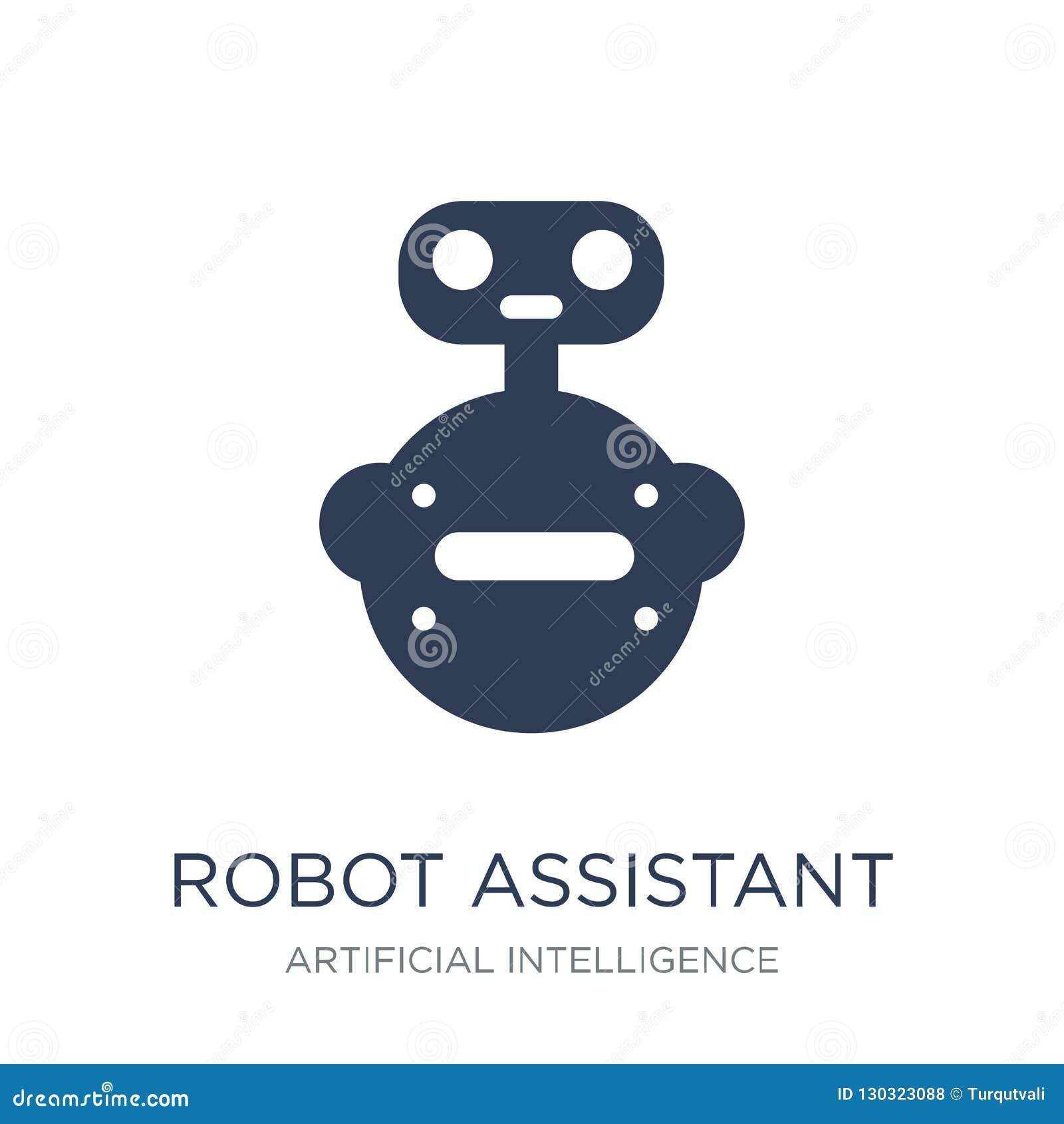 Robota asystenta ikona Modnego płaskiego wektorowego robota pomocnicza ikona dalej