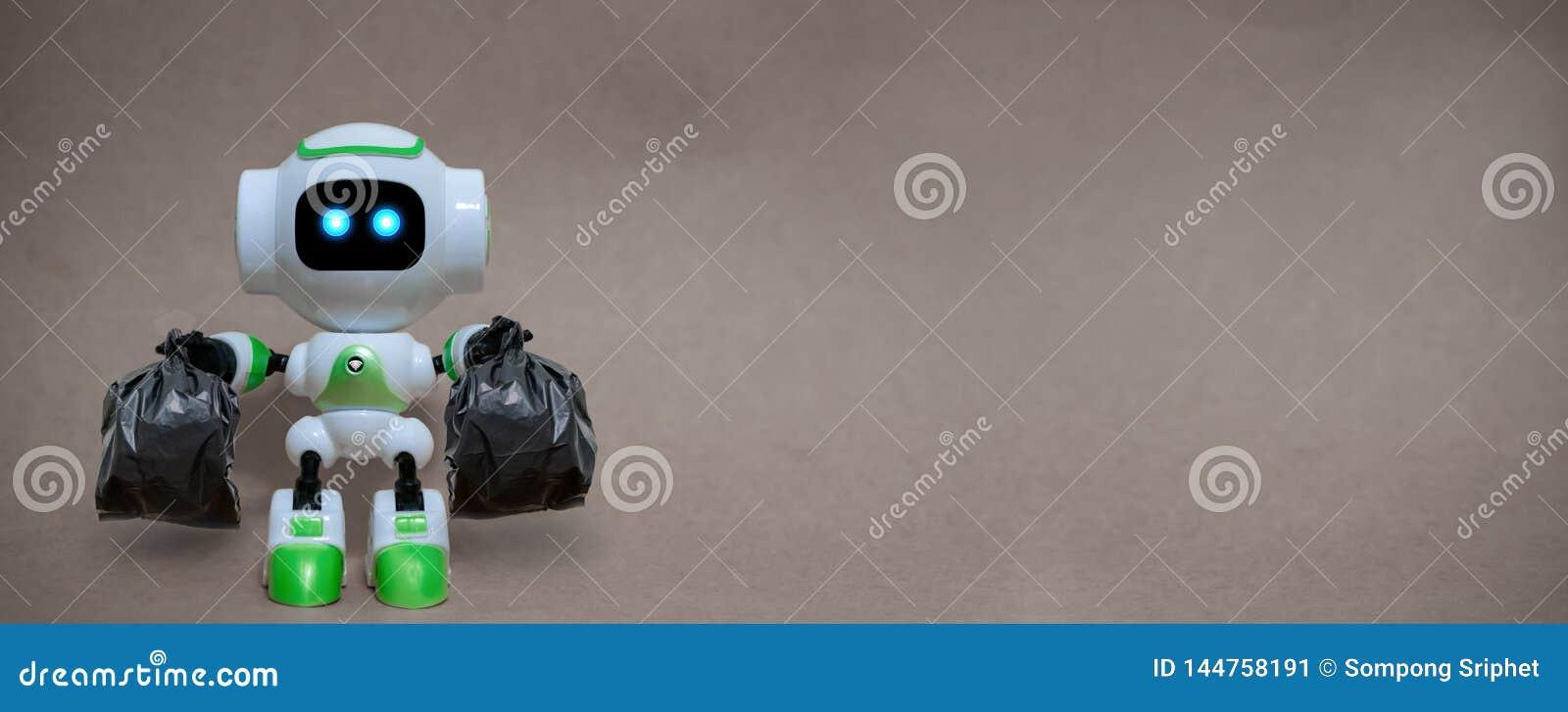 Robota chwyta toreb na śmiecie technologia przetwarza środowisko