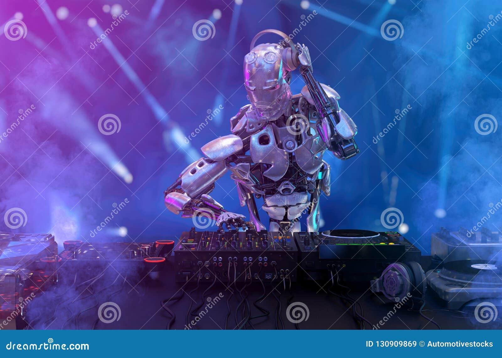 Robota dyskdżokej przy dj turntable i melanżerem bawić się klub nocnego podczas przyjęcia Rozrywka, partyjny pojęcie ilustracja 3