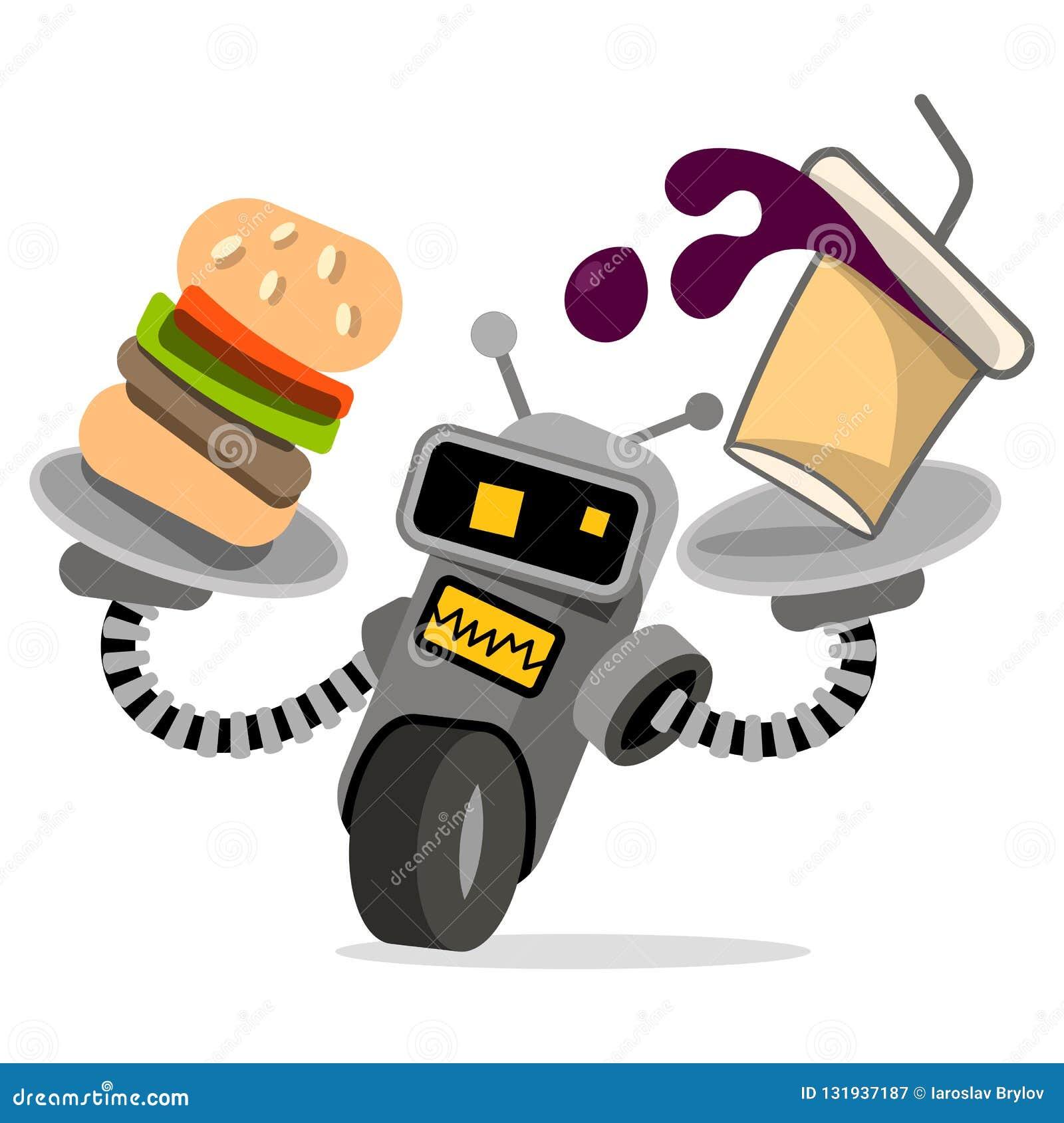 Robota kelner z tacy i jedzenia wektorem