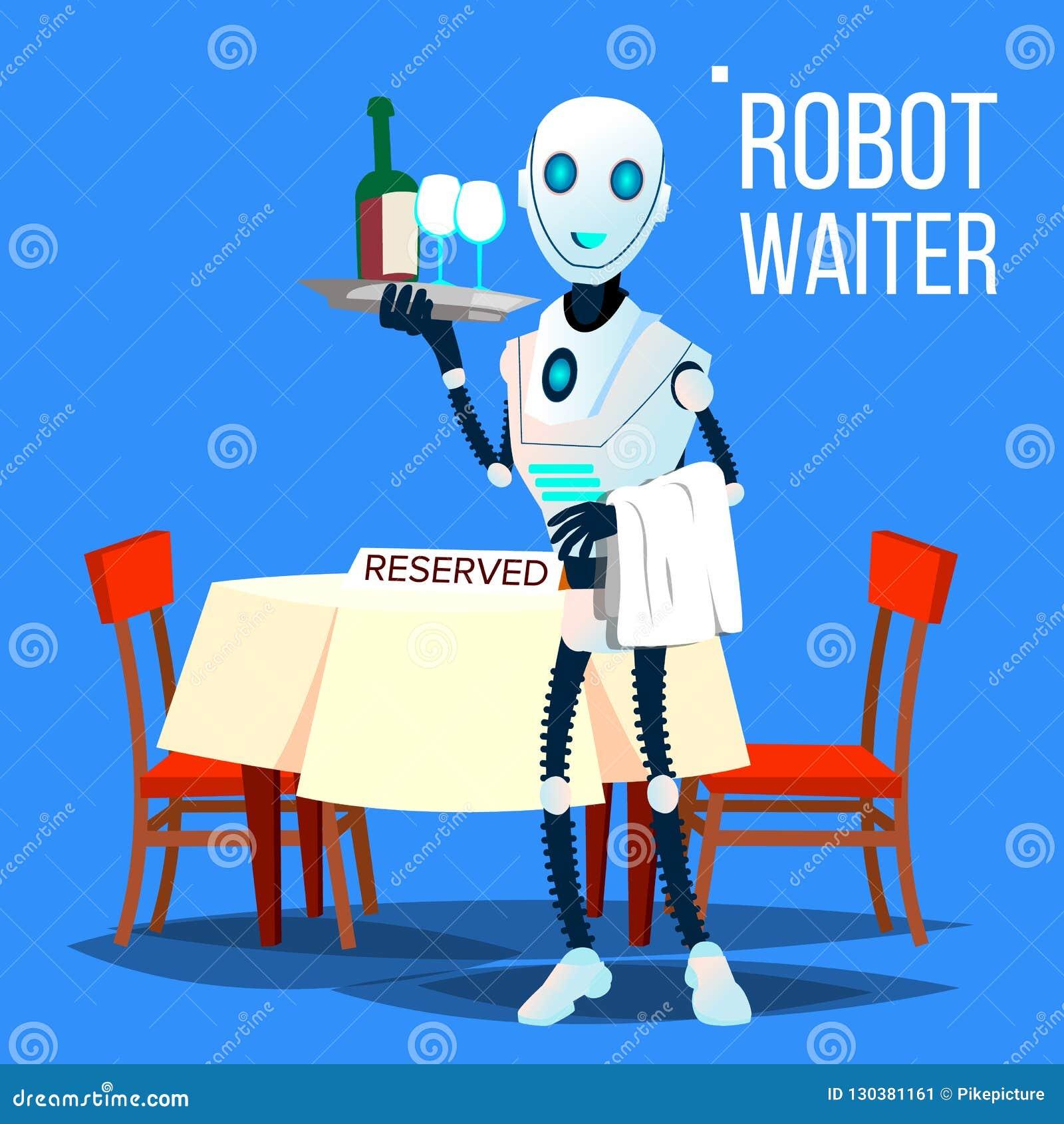 Robota kelnera mienia taca Z napojami Wektorowymi button ręce s push odizolowana początku ilustracyjna kobieta