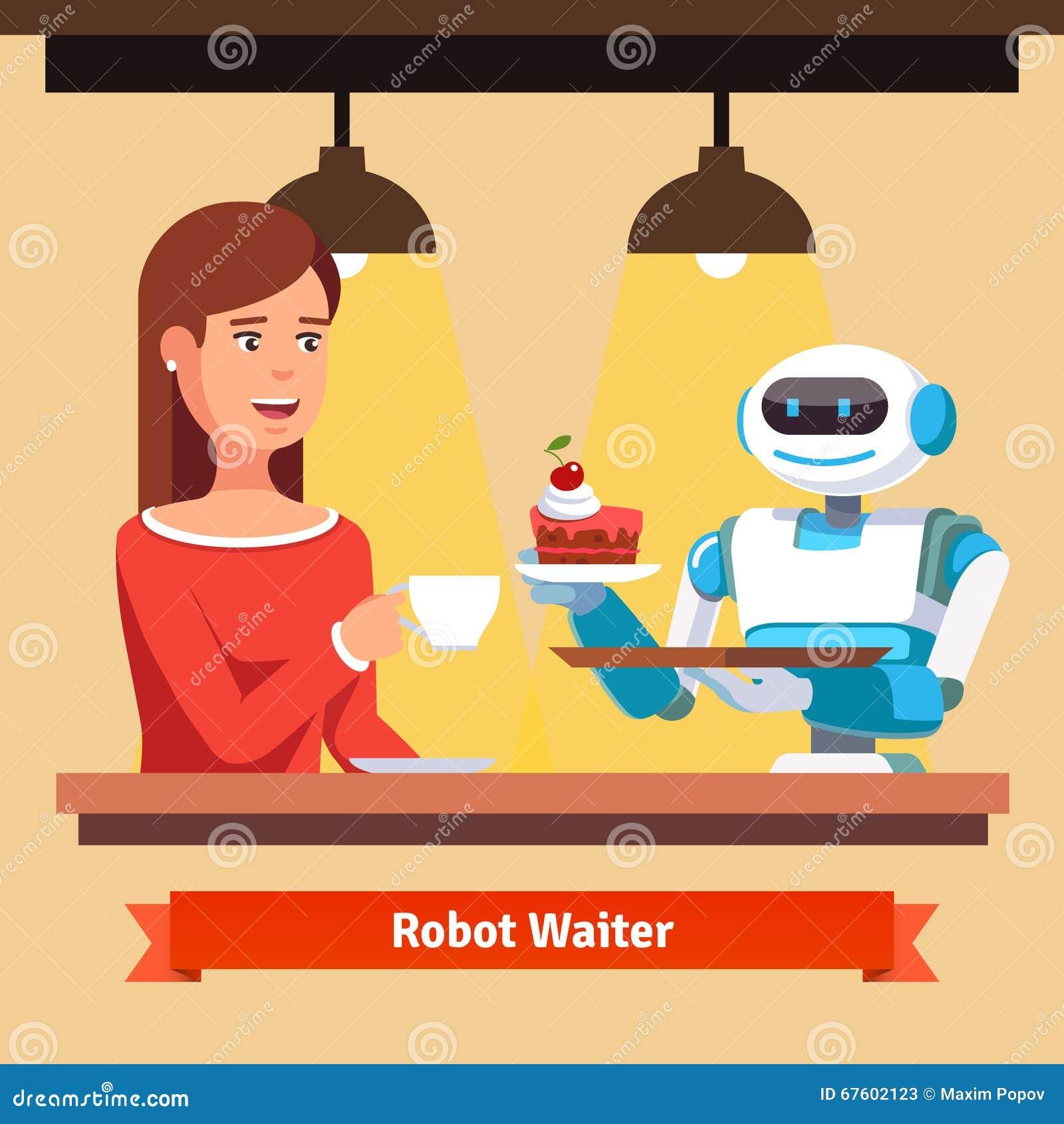 Robota kelnera porci tort i kawa