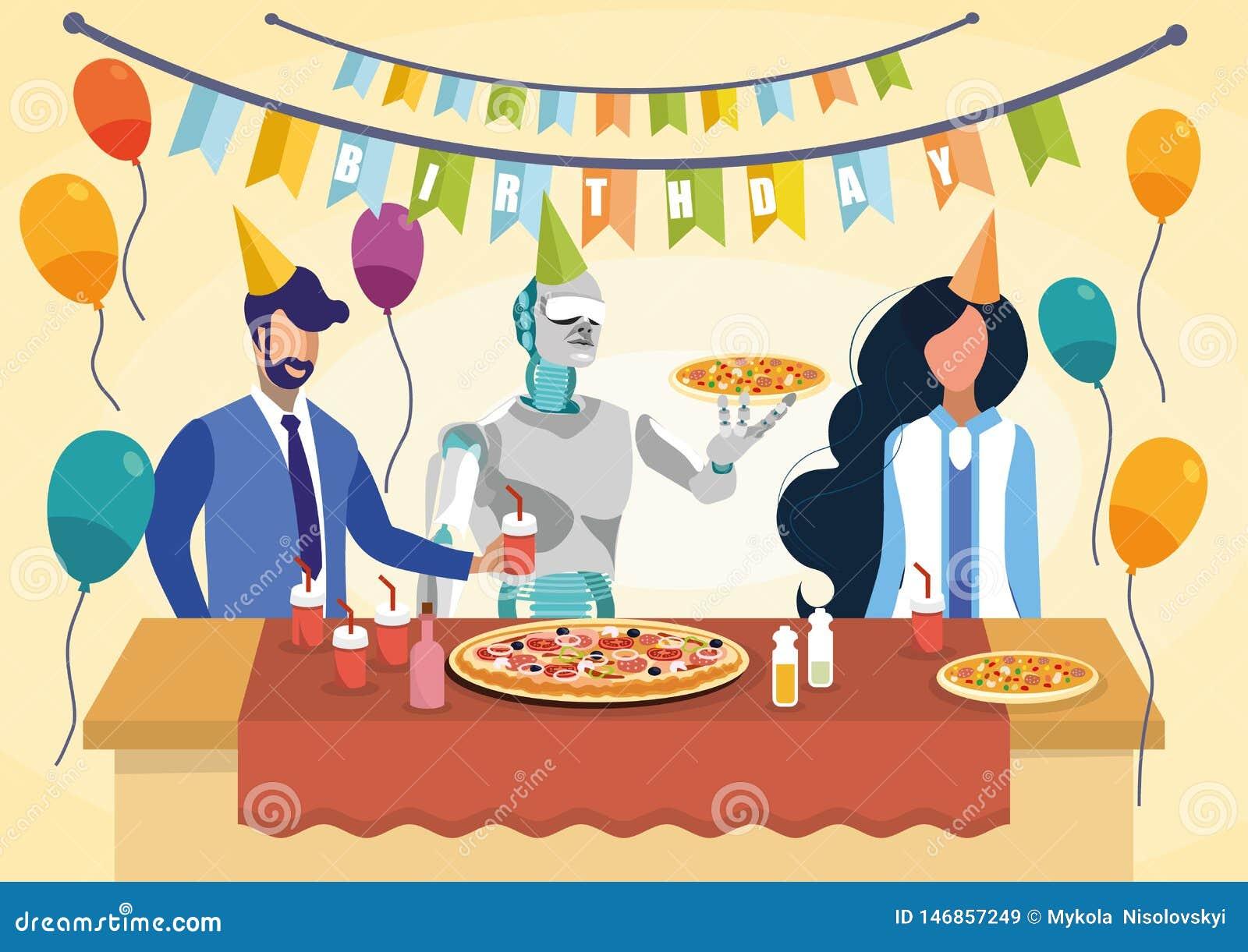 Robota mienia Kucbarskiej pizzy Płaska Wektorowa ilustracja