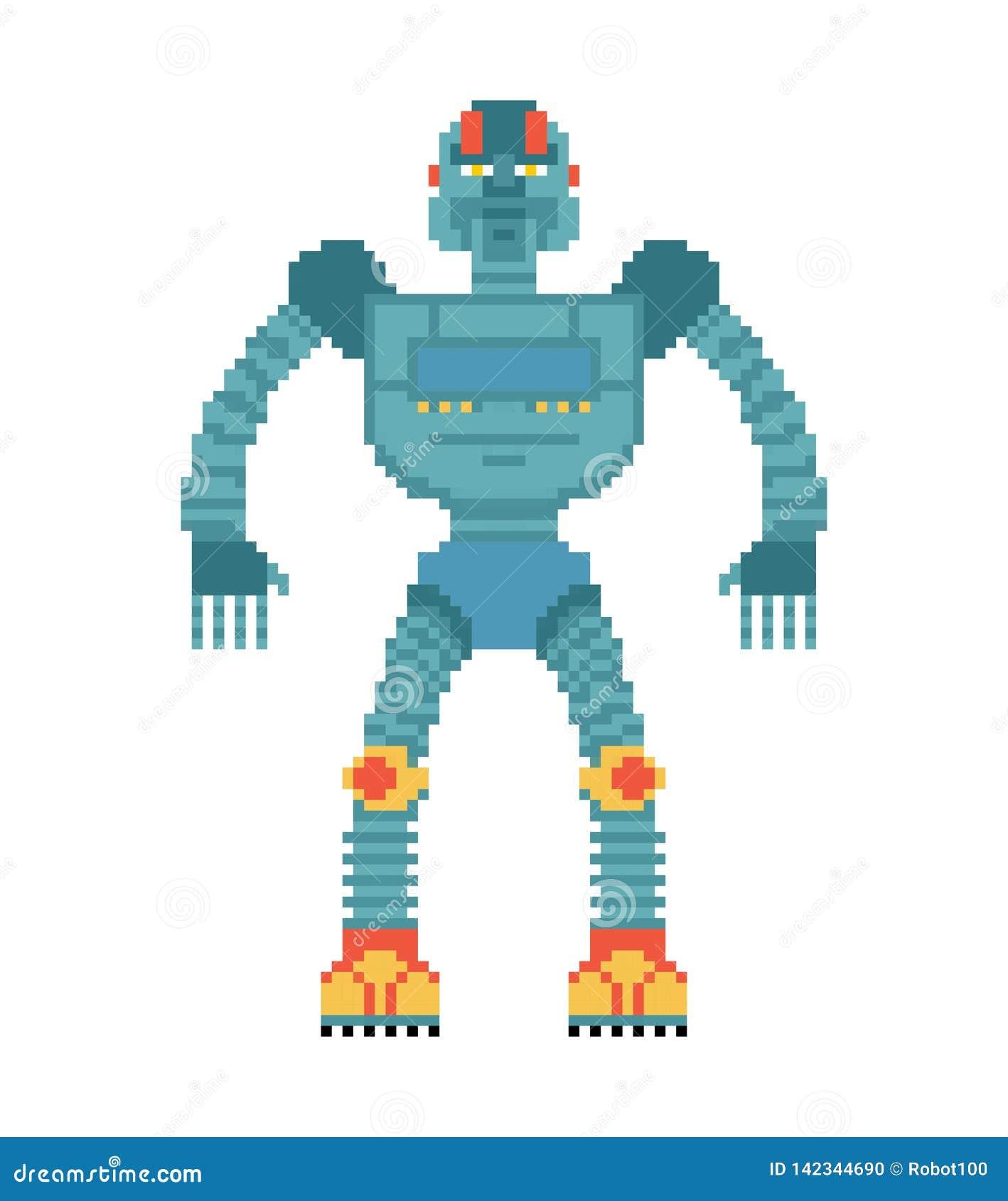 Robota piksla sztuka Cyborga 8 kawałka styl Stare gemowe grafika