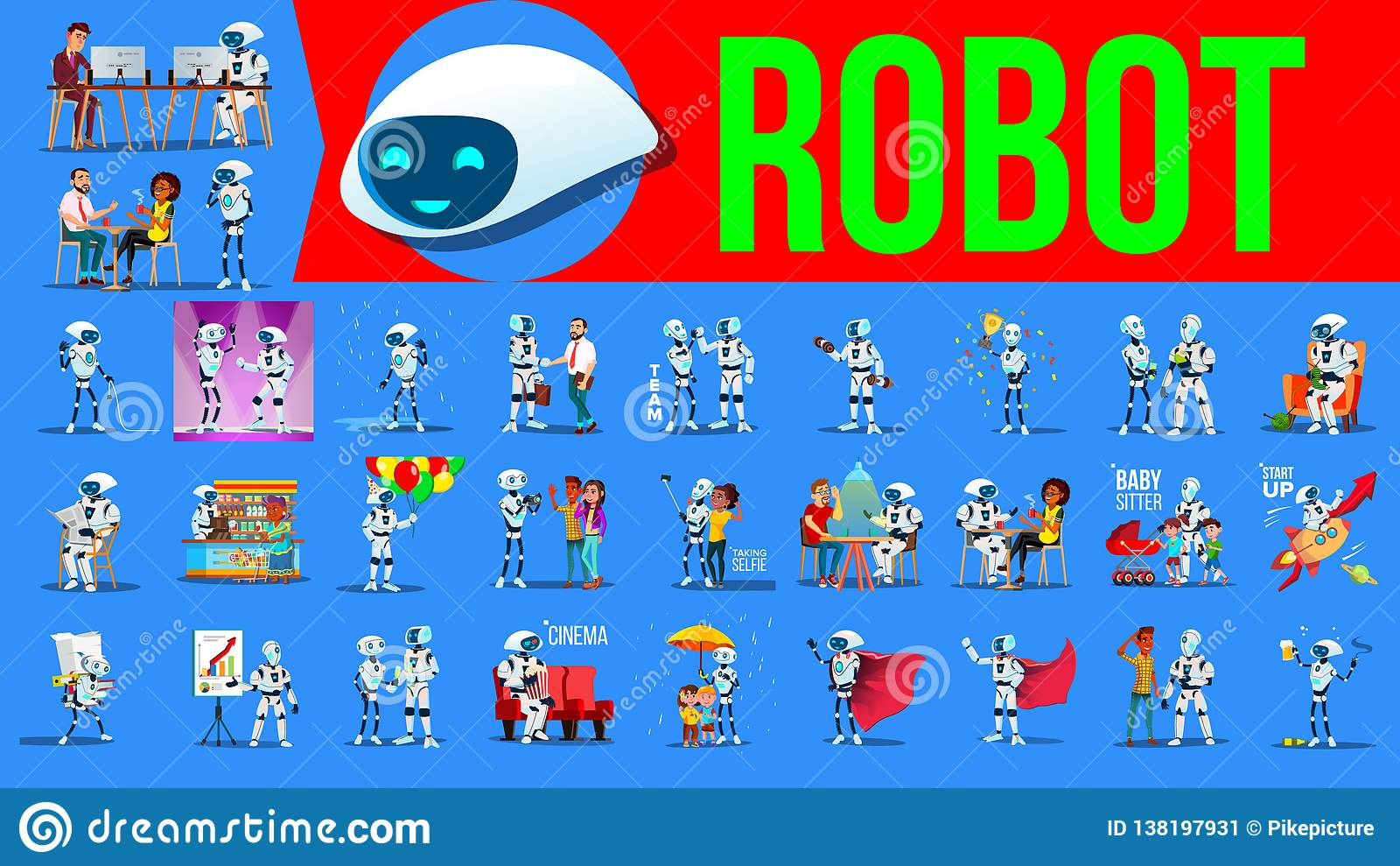 Robota pomagiera Ustalony wektor Przyszłościowe styl życia sytuacje Pracować, Komunikuje Wpólnie Cyborg, AI Futurystyczny Humanoi