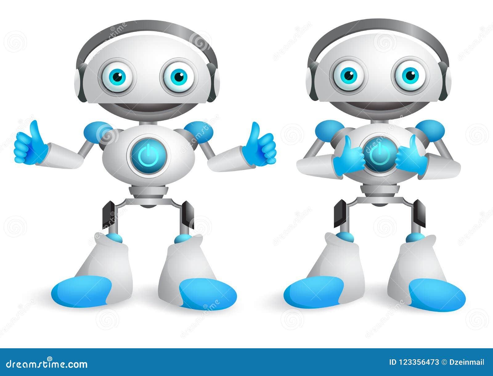 Robota wektorowy charakter - set Śmieszny maskotka robota projekta element