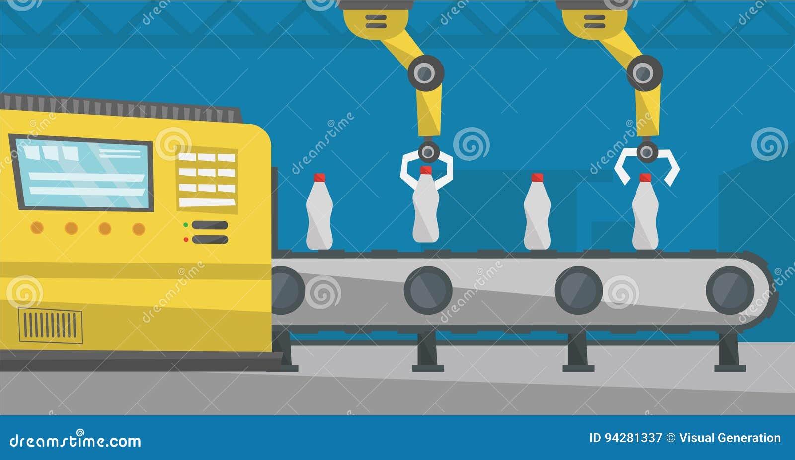 Robotachtig wapen die aan transportband met flessen werken