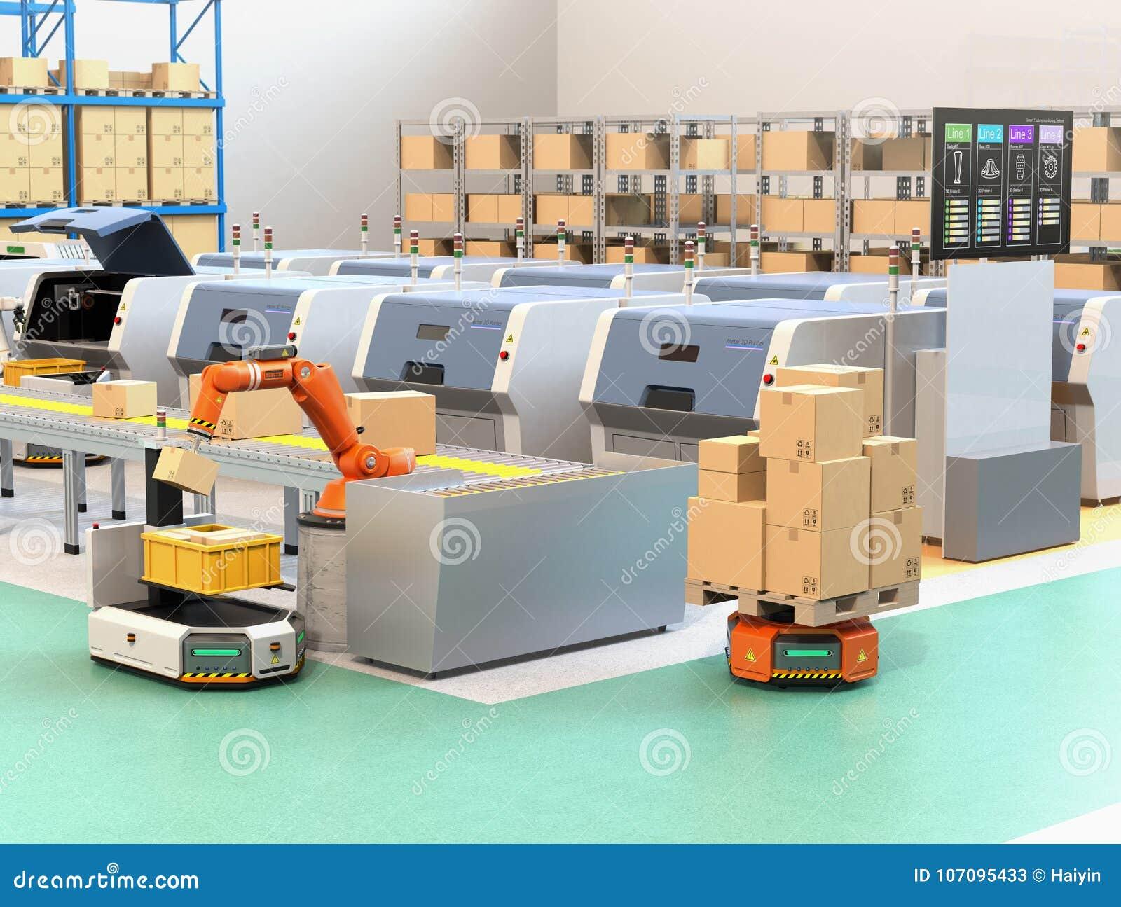 Robotachtig wapen het plukken pakket van transportband aan AGV