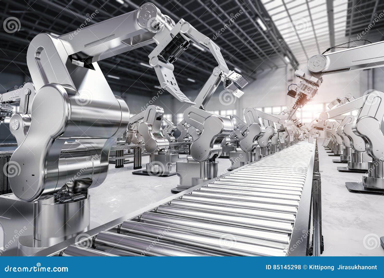 Robotachtig wapen met transportbandlijn