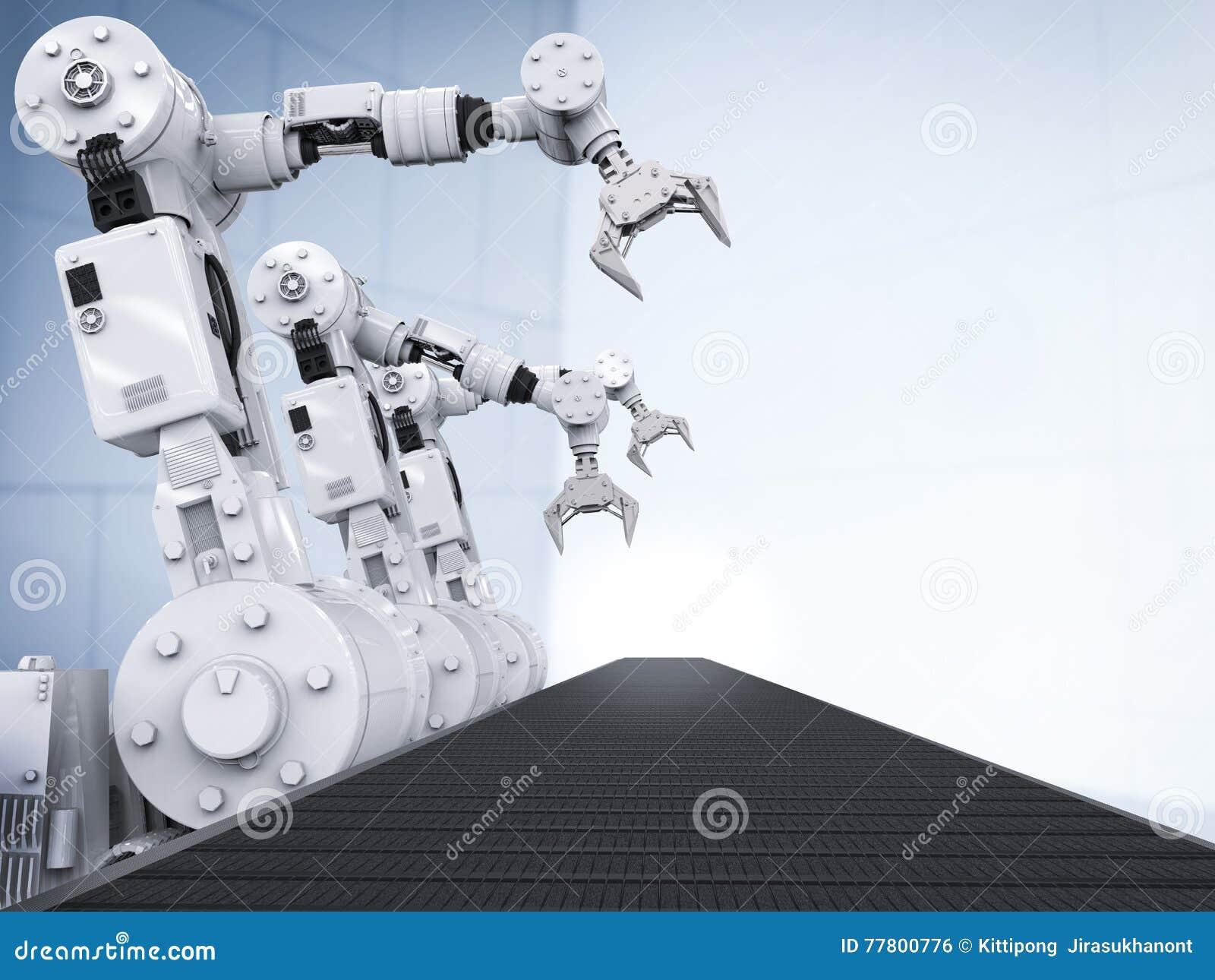 Robotachtige wapens met lege transportband