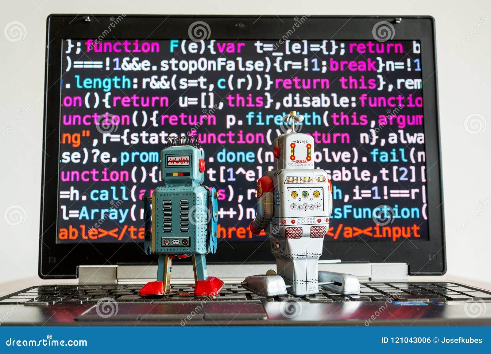 Robotar med skärmen för källkod, konstgjord intelligens, djupt lärande begrepp