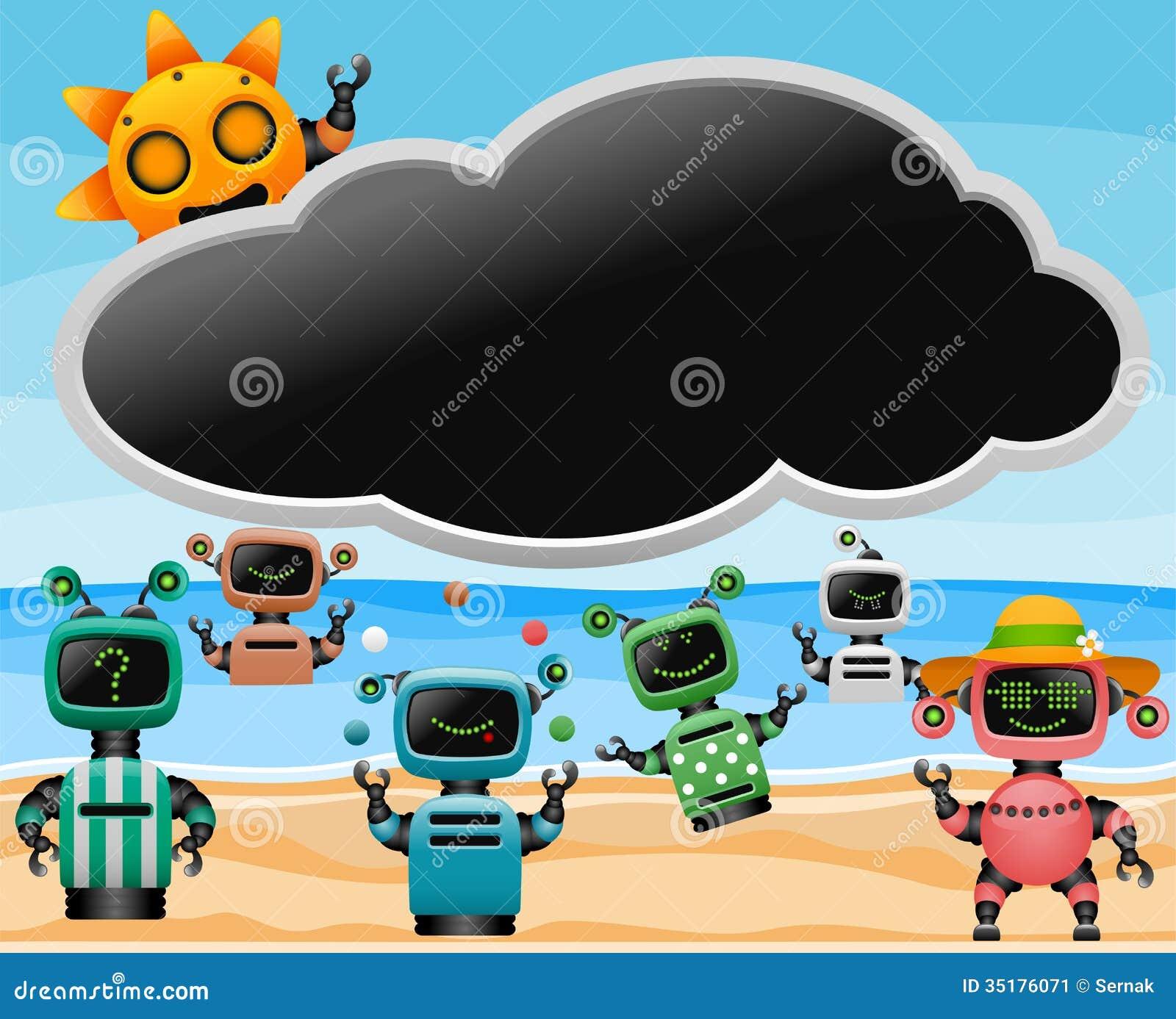Robotar på stranden