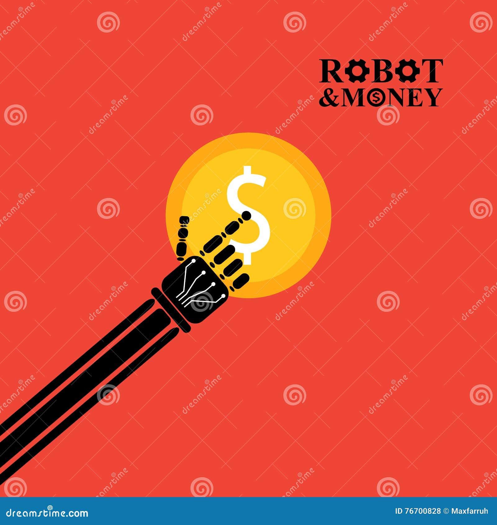 Robotarm med pengarillustrationen