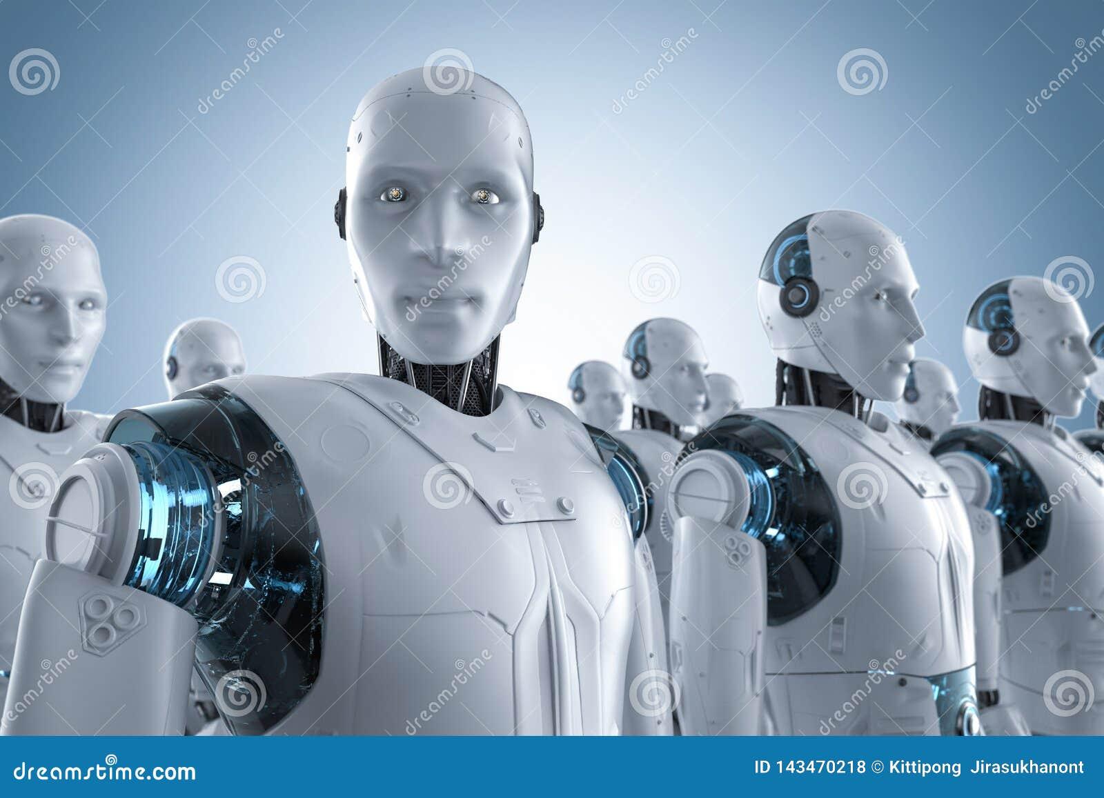 Robotassemblage op een rij