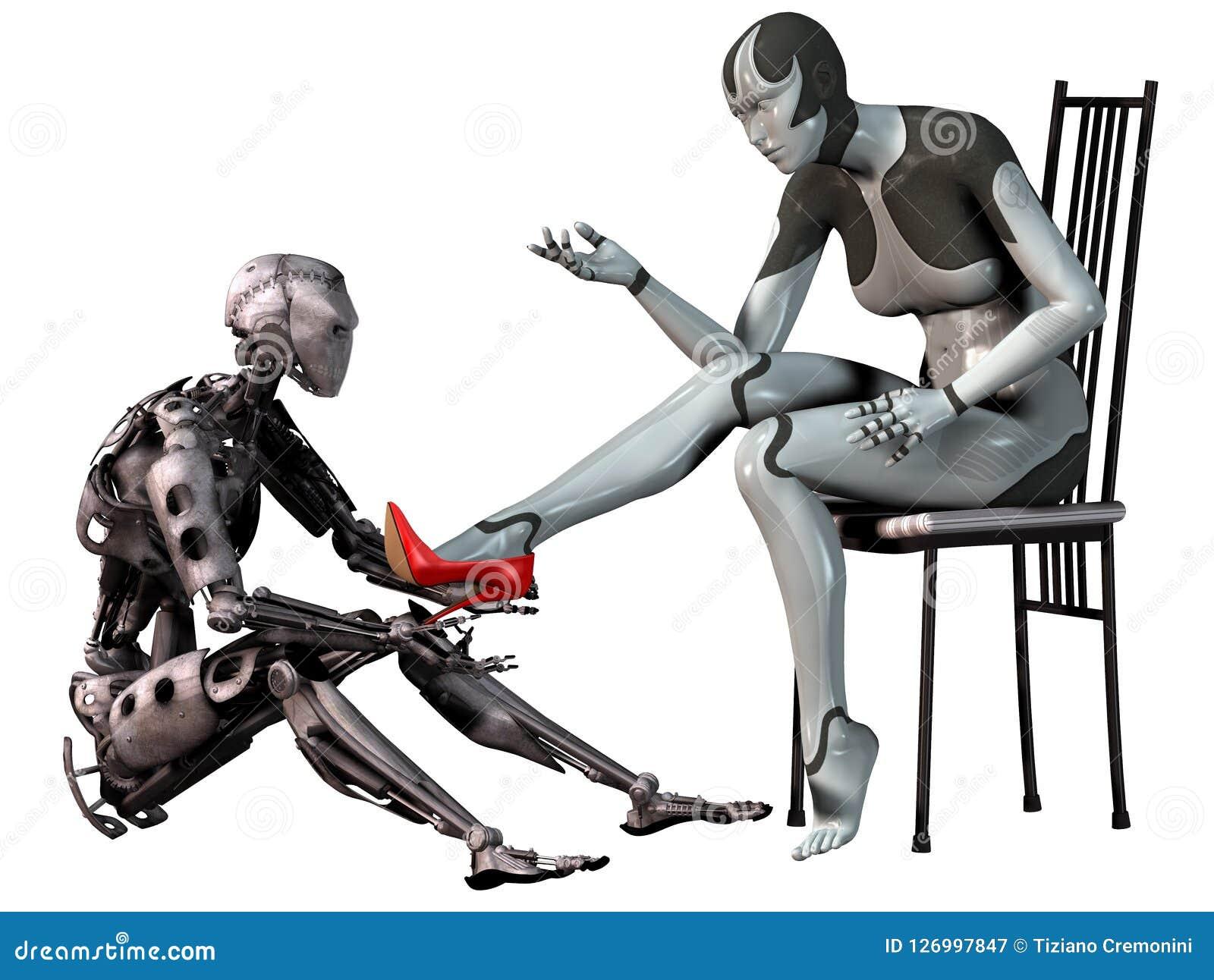 Robotcinderella, androïde man probeert een rode hoge hielschoen in de voet van een androïde vrouw, 3d illustratie