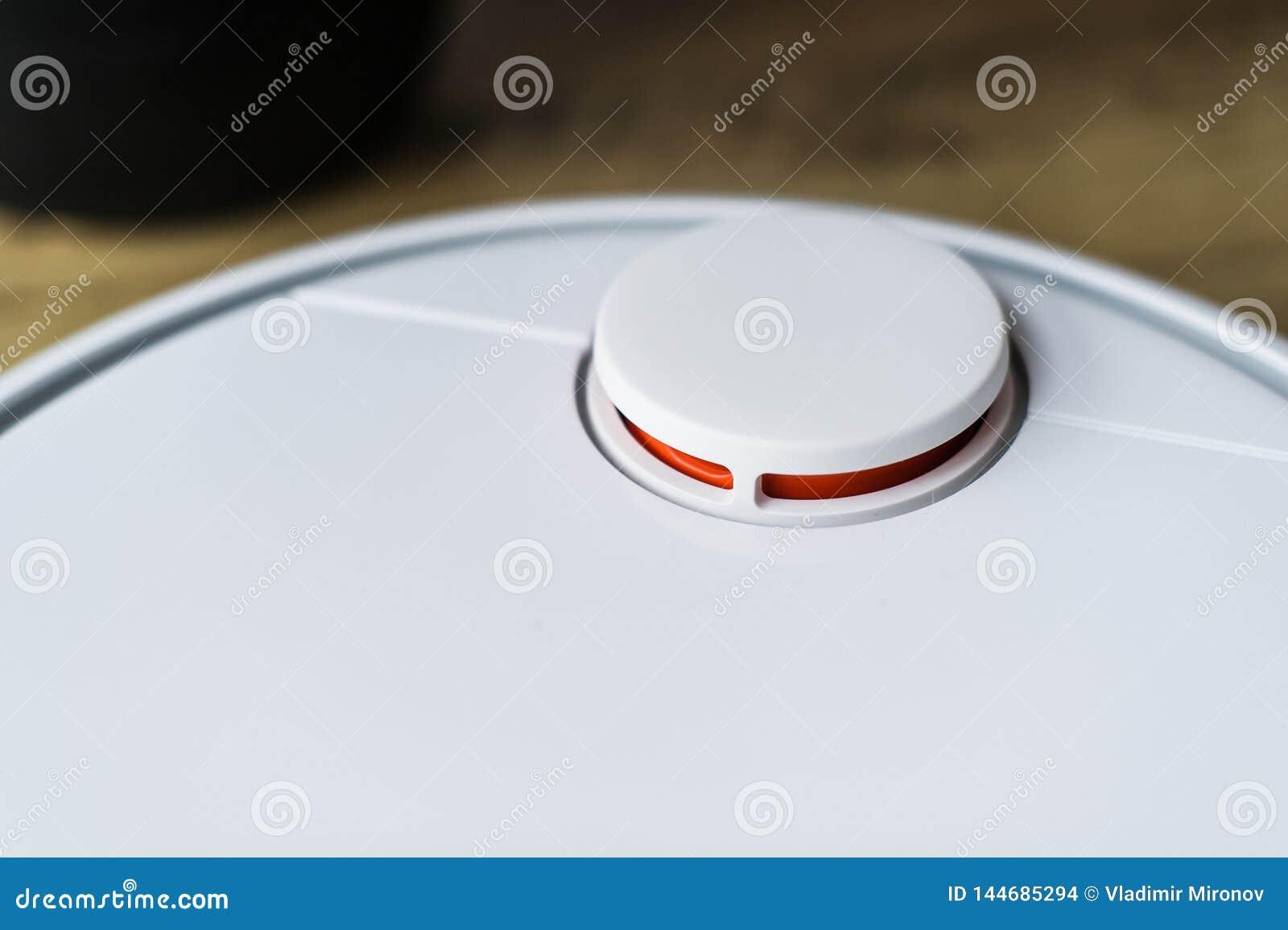 Robotdammsugare p? tr?golv Slapp fokus Smart hembegrepp Automatisk lokalv?rd