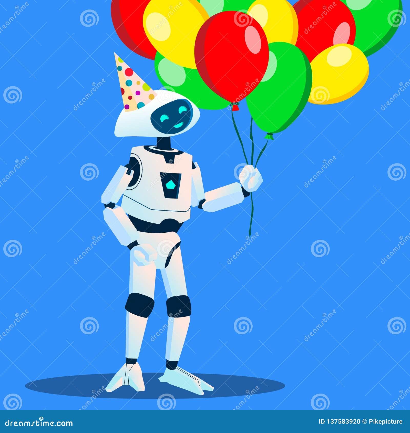 Roboten har gyckel med ballonger i hand och festligt lock på huvudvektor isolerad knapphandillustration skjuta s-startkvinnan