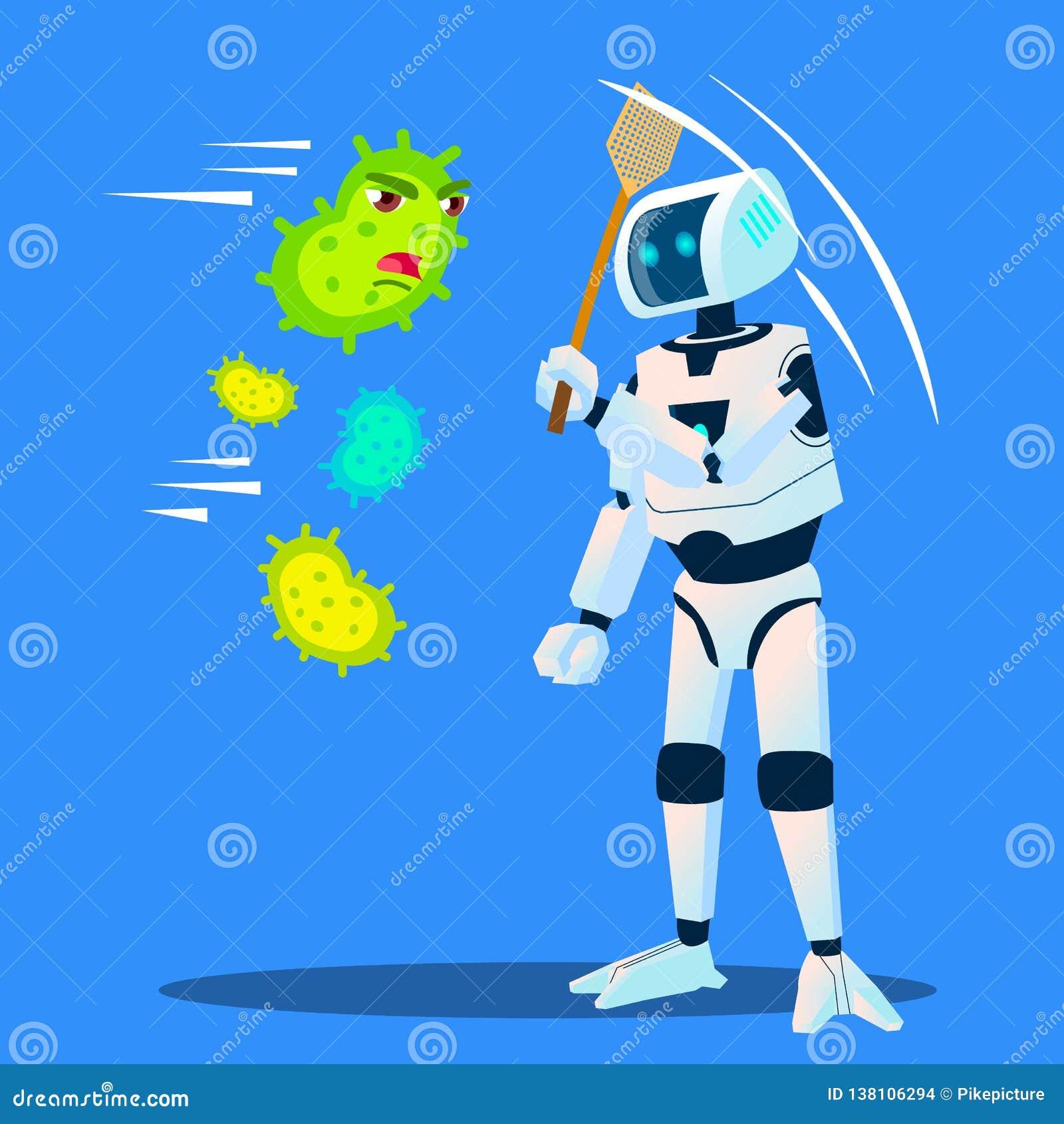Roboten kör bort bakterier som flyger runt om vektor isolerad knapphandillustration skjuta s-startkvinnan