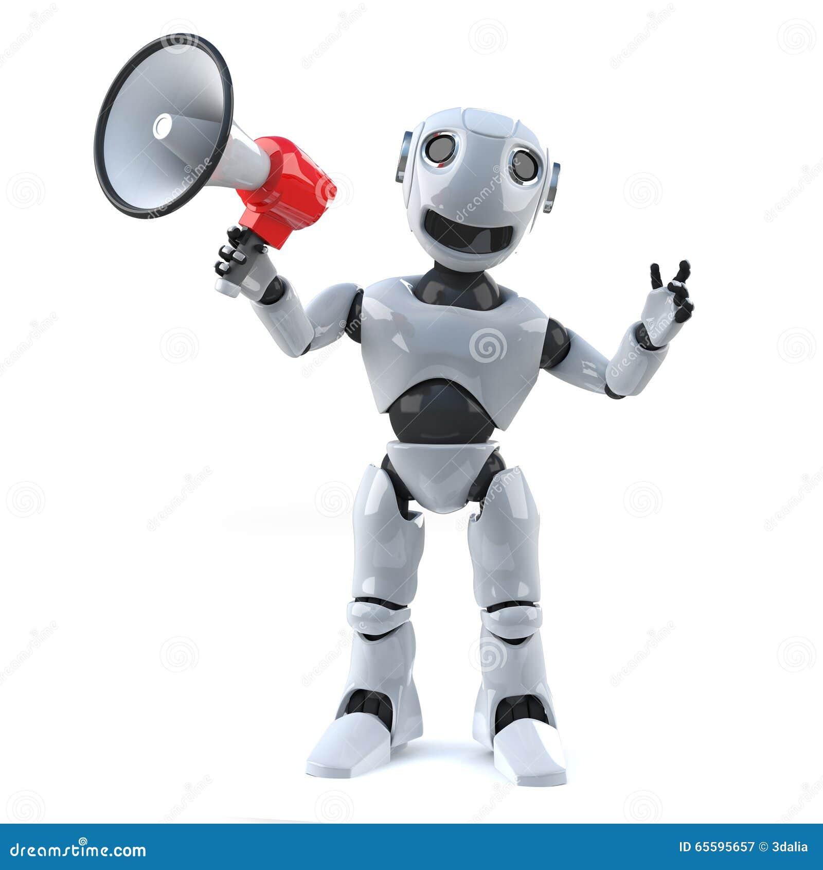 Roboter 3d unter Verwendung eines Megaphons, zum einer Mitteilung zu machen