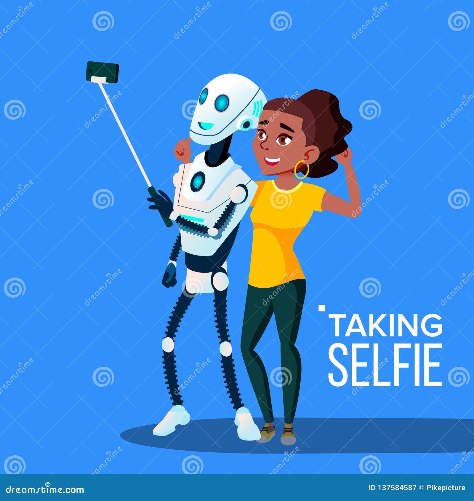 Roboter, der ein Selfie mit Smartphone-Vektor nimmt Getrennte Abbildung
